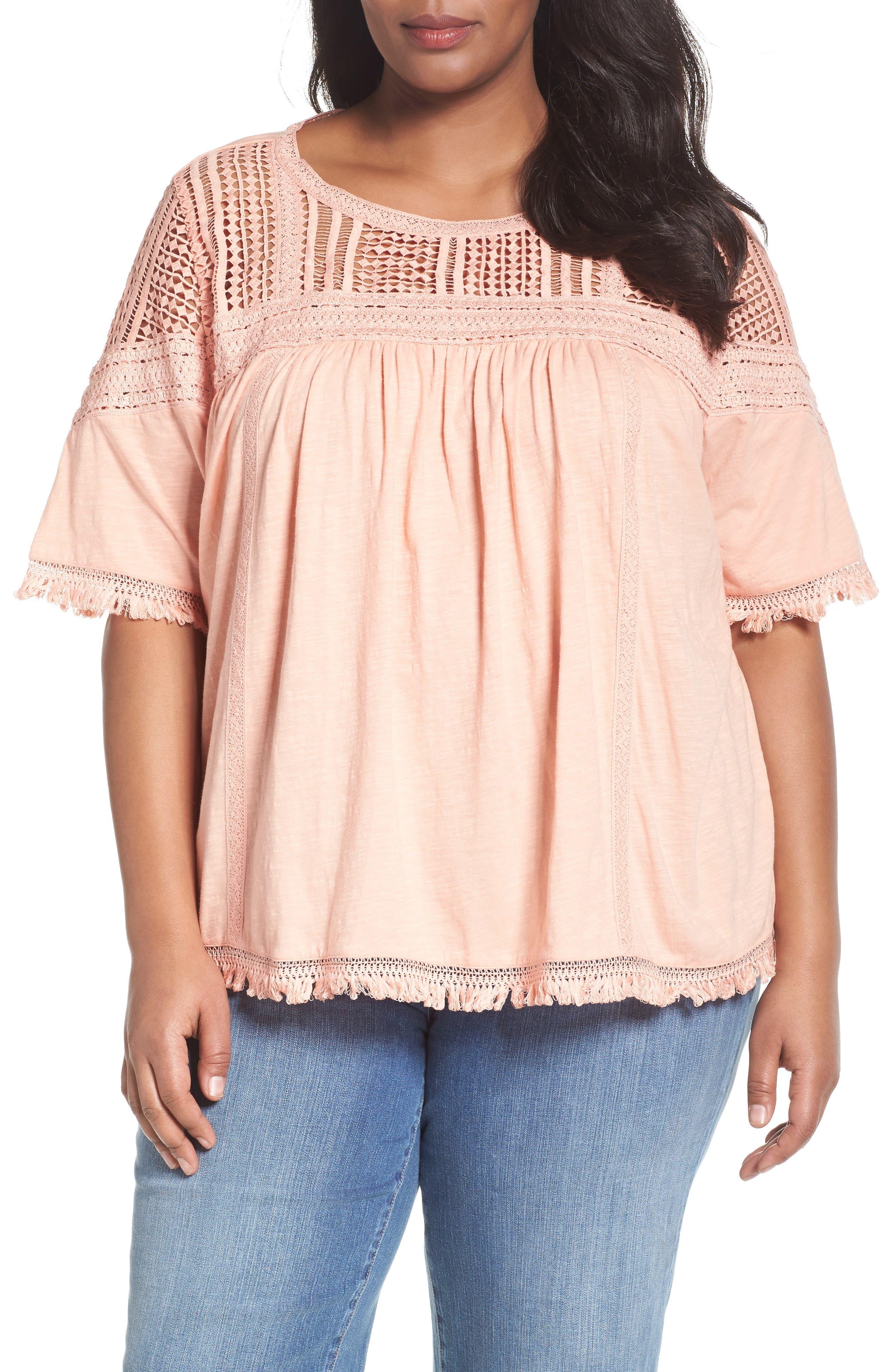 Caslon® Lace & Knit Fringe Tee (Plus Size)