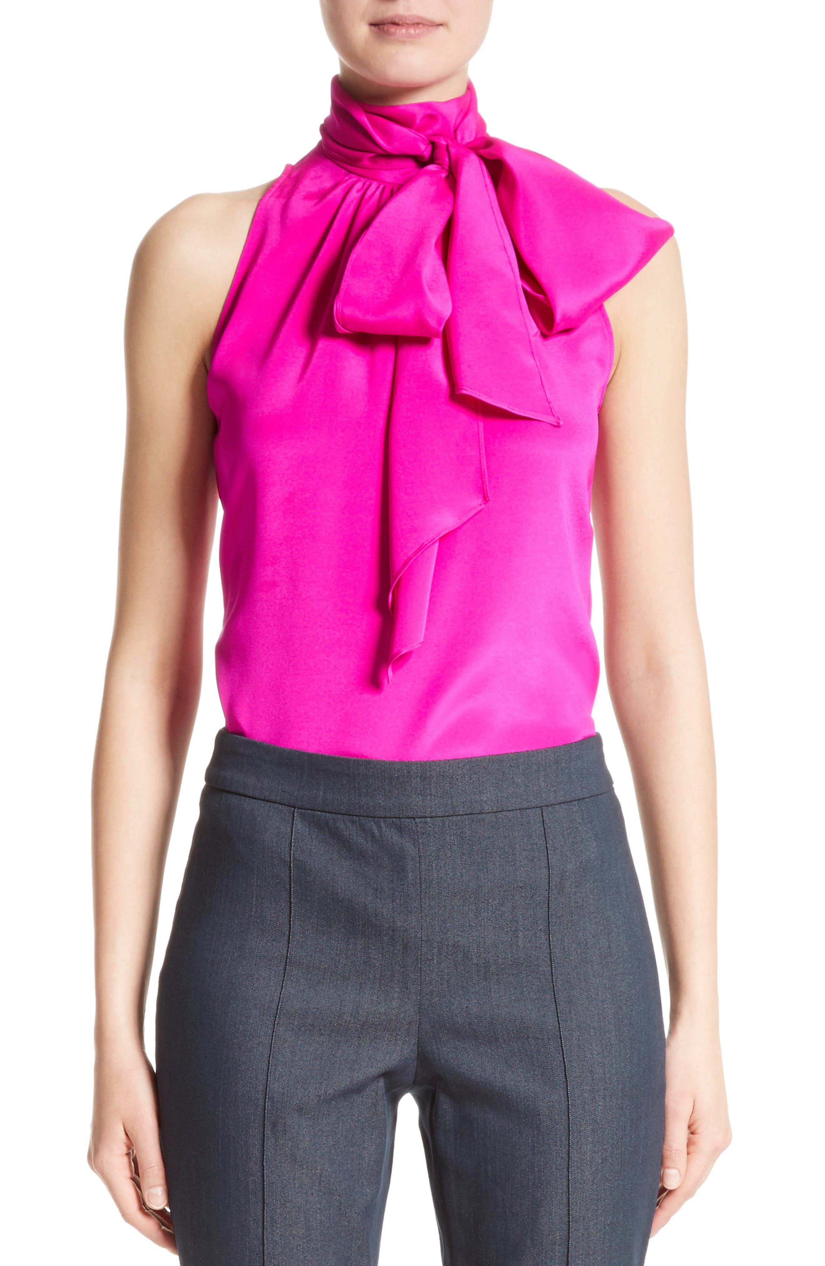 St. John Collection Stretch Silk Charmeuse Halter Tie Blouse