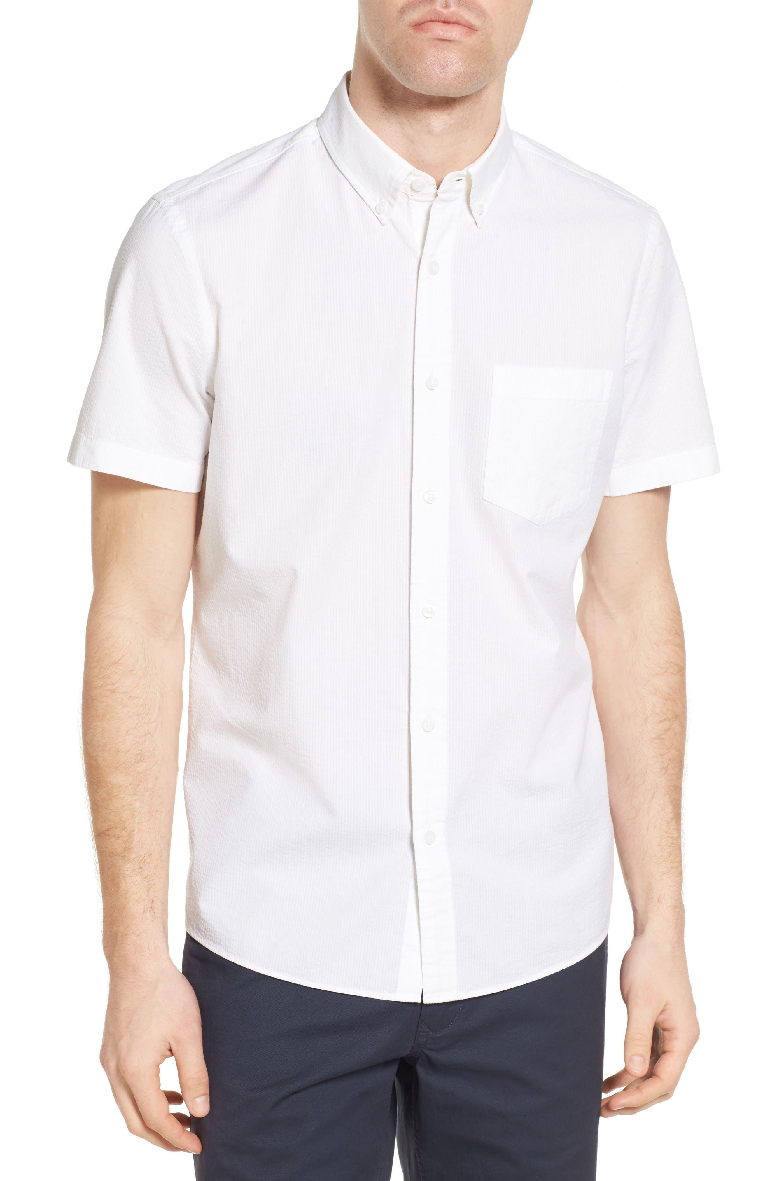 Nordstrom Men's Shop Slim Fit Seersucker Sport Shirt (Regular & Tall)