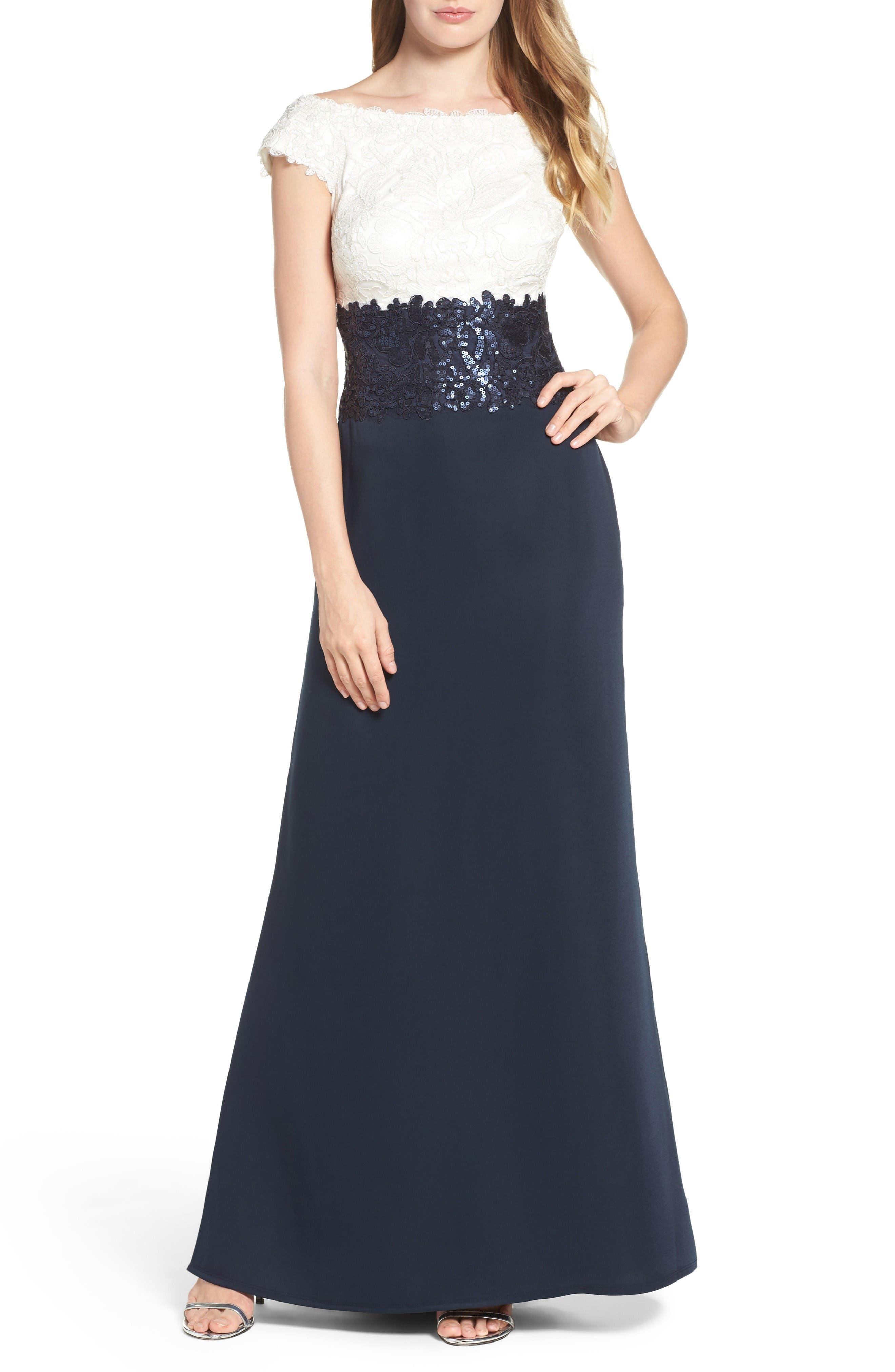 Tadashi Shoji Off the Shoulder Lace Gown (Regular & Petite)
