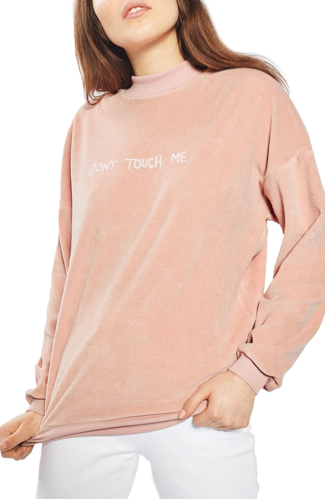 Main Image - Topshop by Tee & Cake Don't Touch Me Velvet Sweatshirt