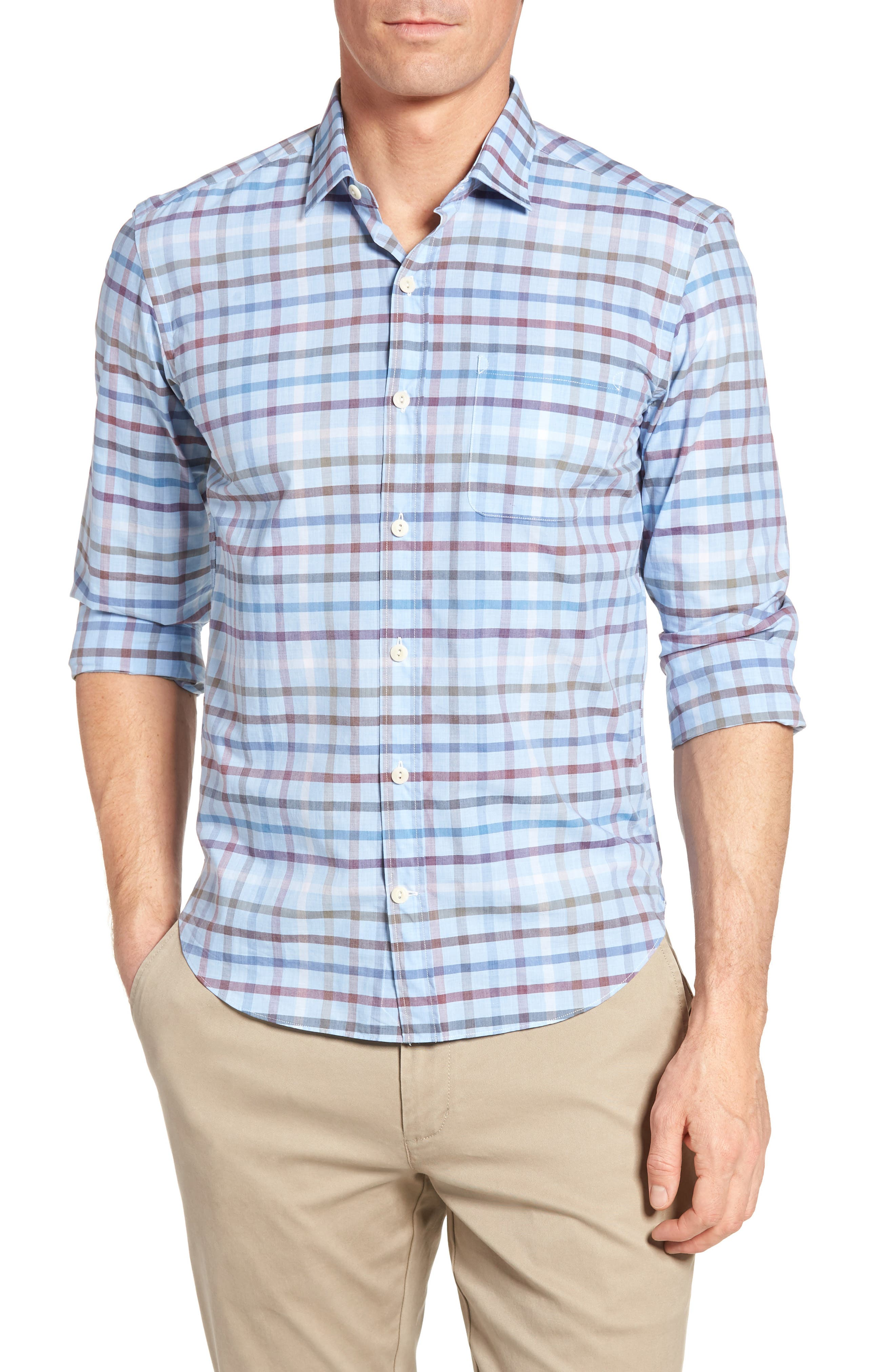 CULTURATA Slim Fit Check Sport Shirt