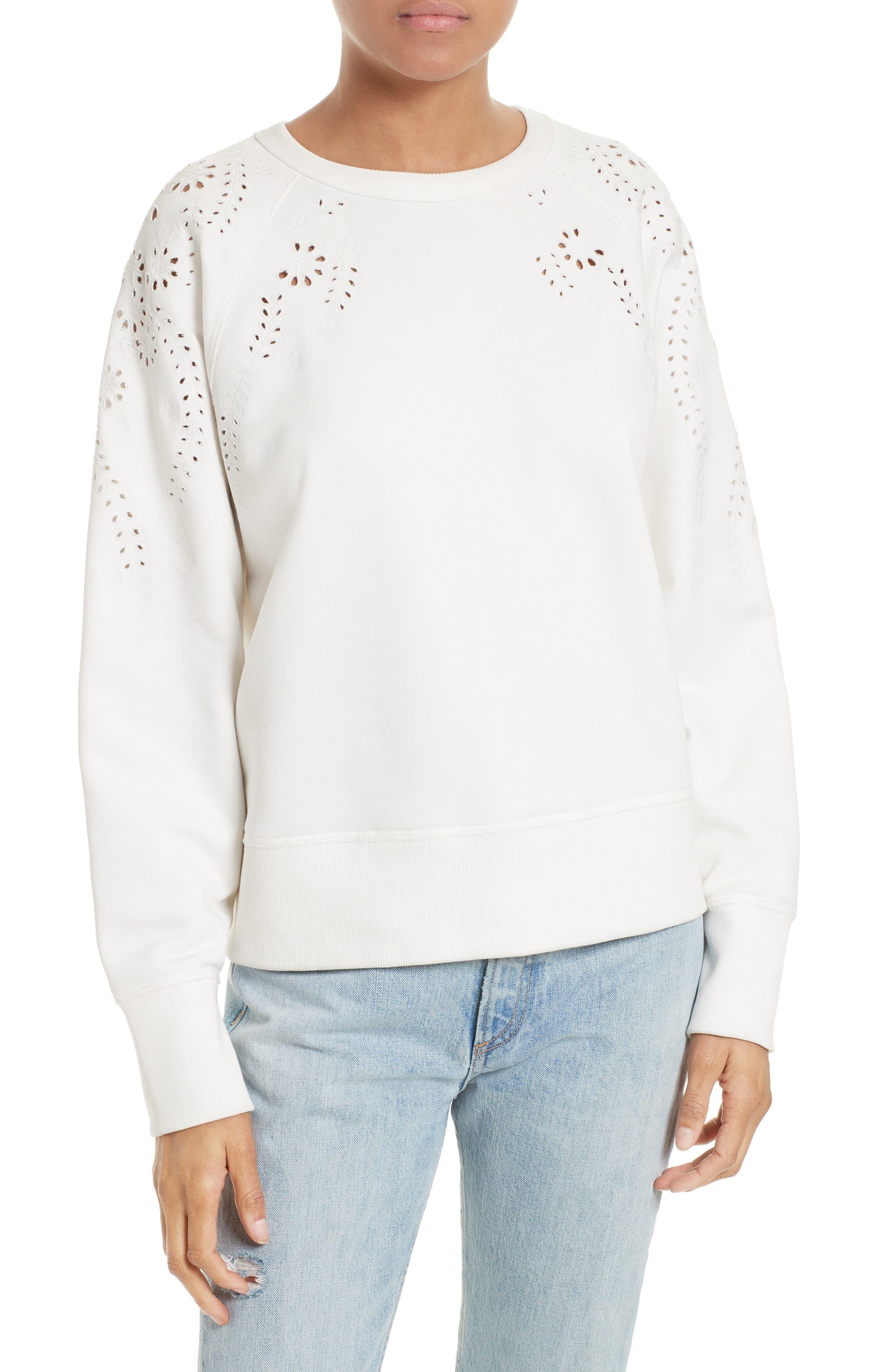 rag & bone/JEAN Eyelet Cotton Pullover