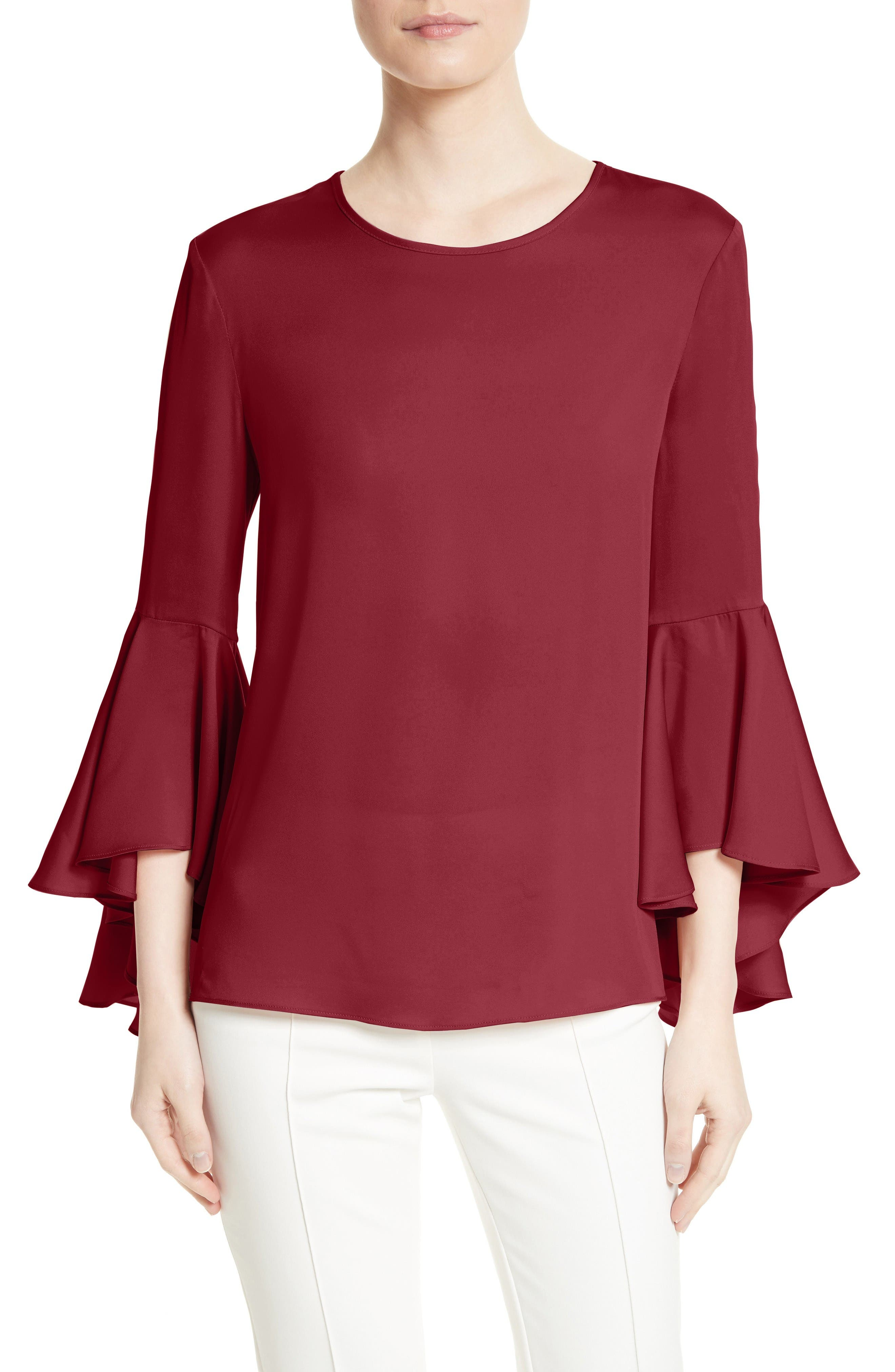 Main Image - Milly Bell Sleeve Stretch Silk Blouse