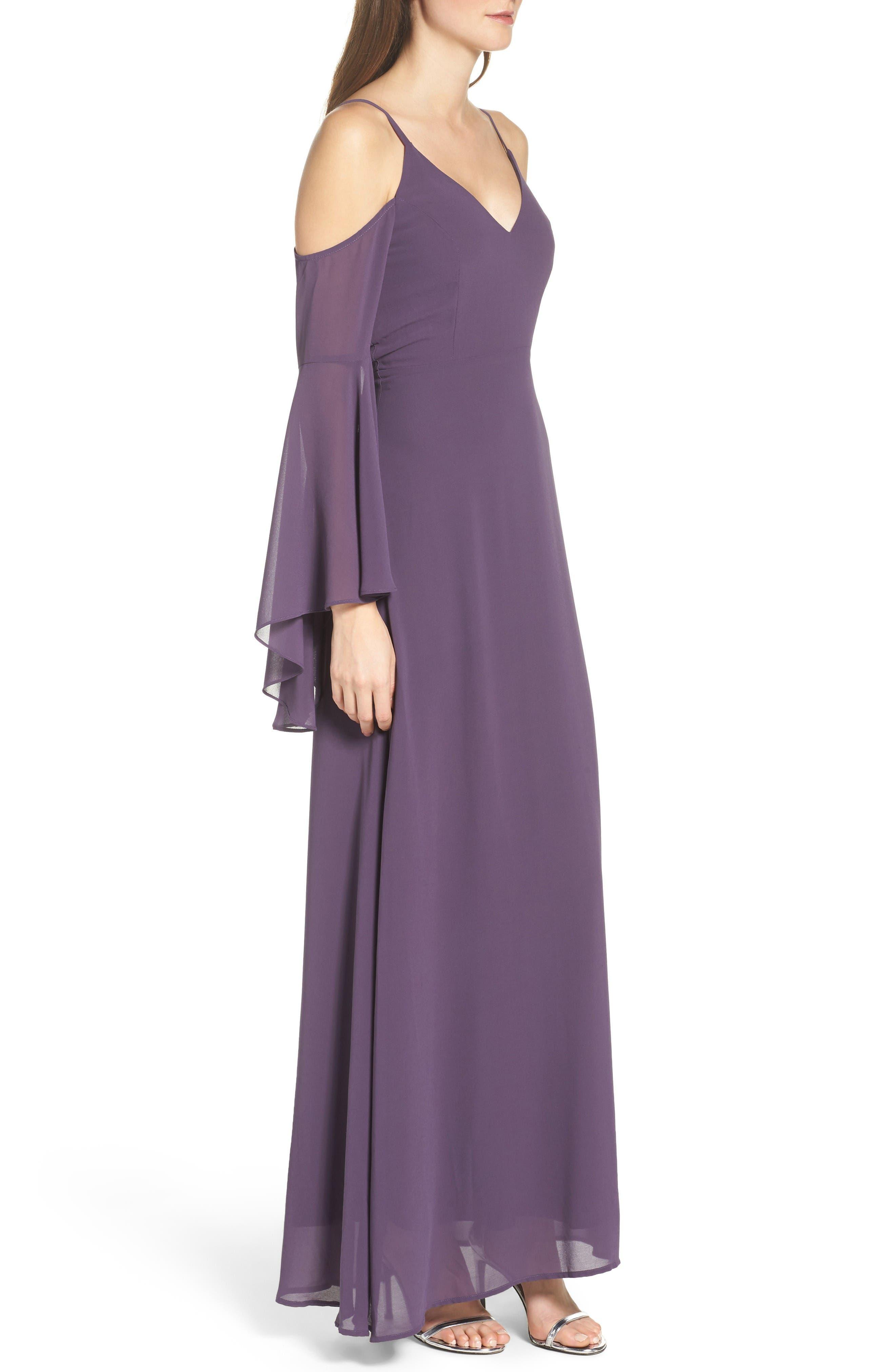 Alternate Image 3  - Lulus Cold Shoulder Chiffon Maxi Dress