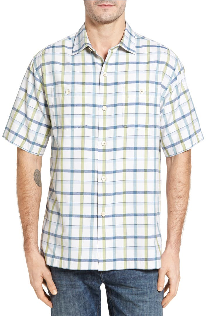 Tommy bahama peninsula plaid silk blend camp shirt big for Do tommy bahama shirts run big
