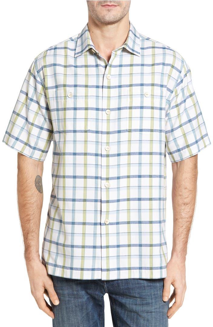 Tommy Bahama Peninsula Plaid Silk Blend Camp Shirt Big