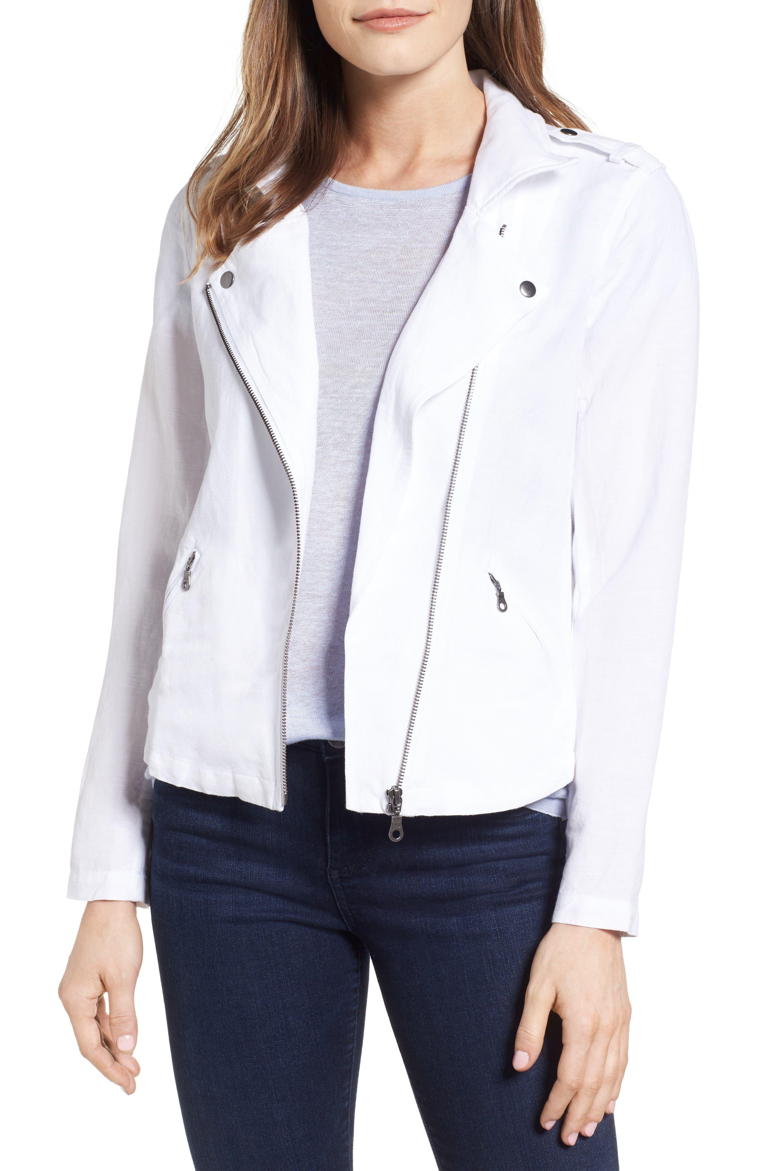 NIC+ZOE Linen Blend Biker Jacket