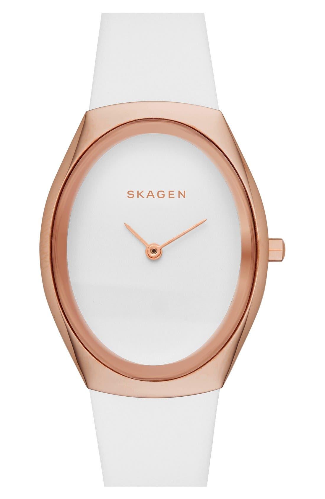 Alternate Image 1 Selected - Skagen 'Madsen' Barrel Leather Strap Watch, 27mm