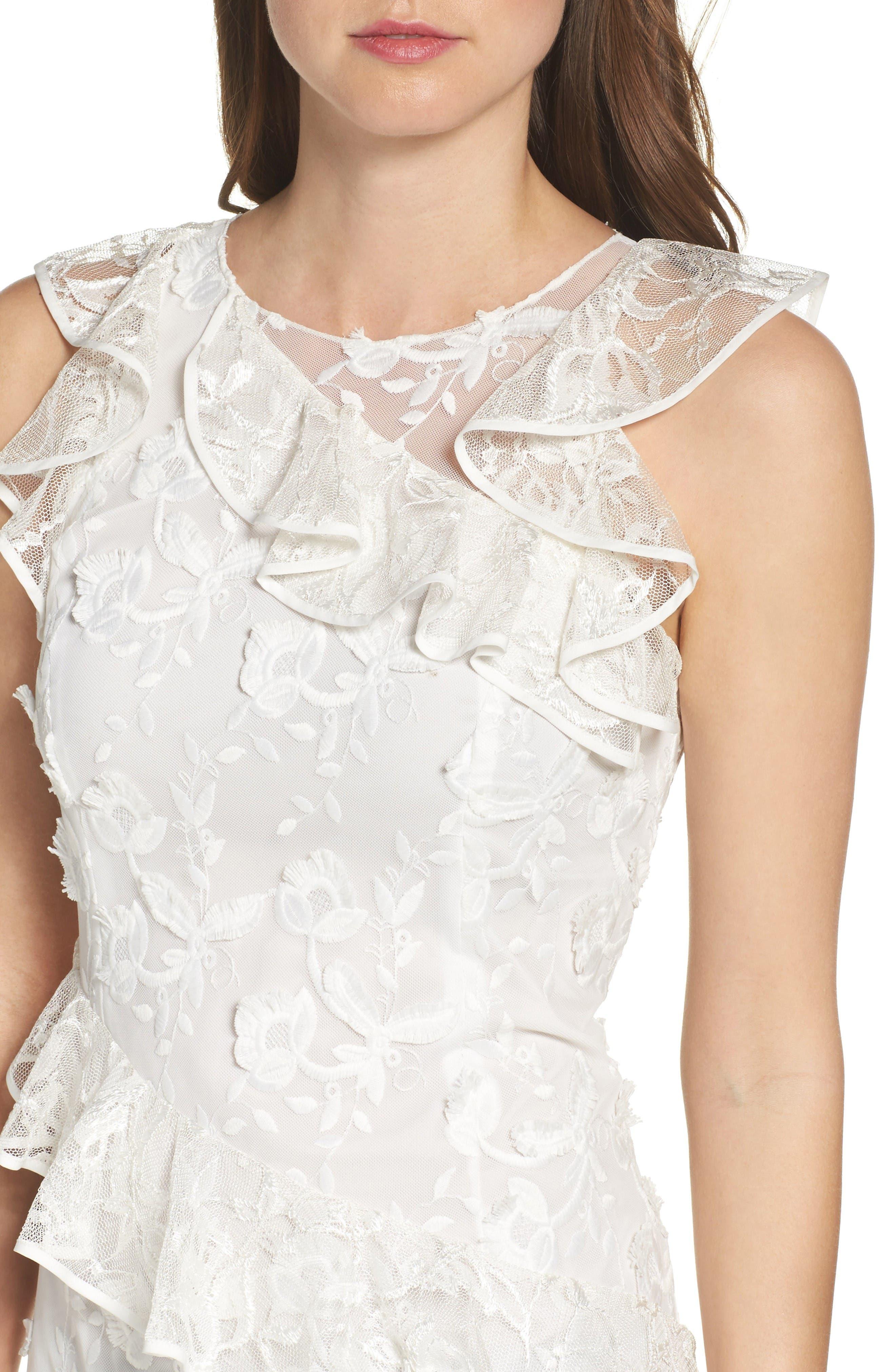 Alternate Image 4  - Sachin & Babi Noir Prima Asymmetrical Mesh Gown