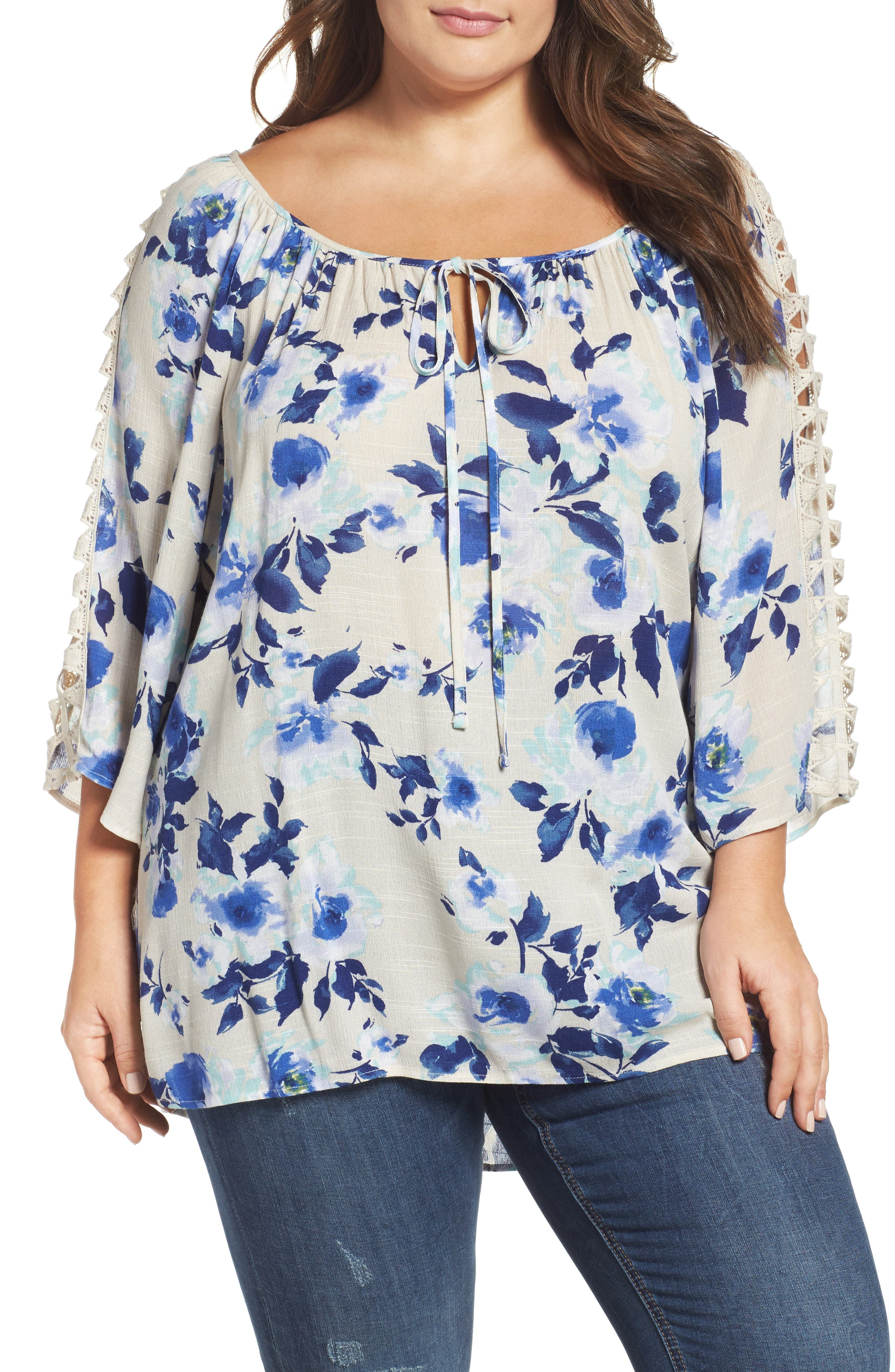 Bobeau Crochet Trim Peasant Blouse (Plus Size)