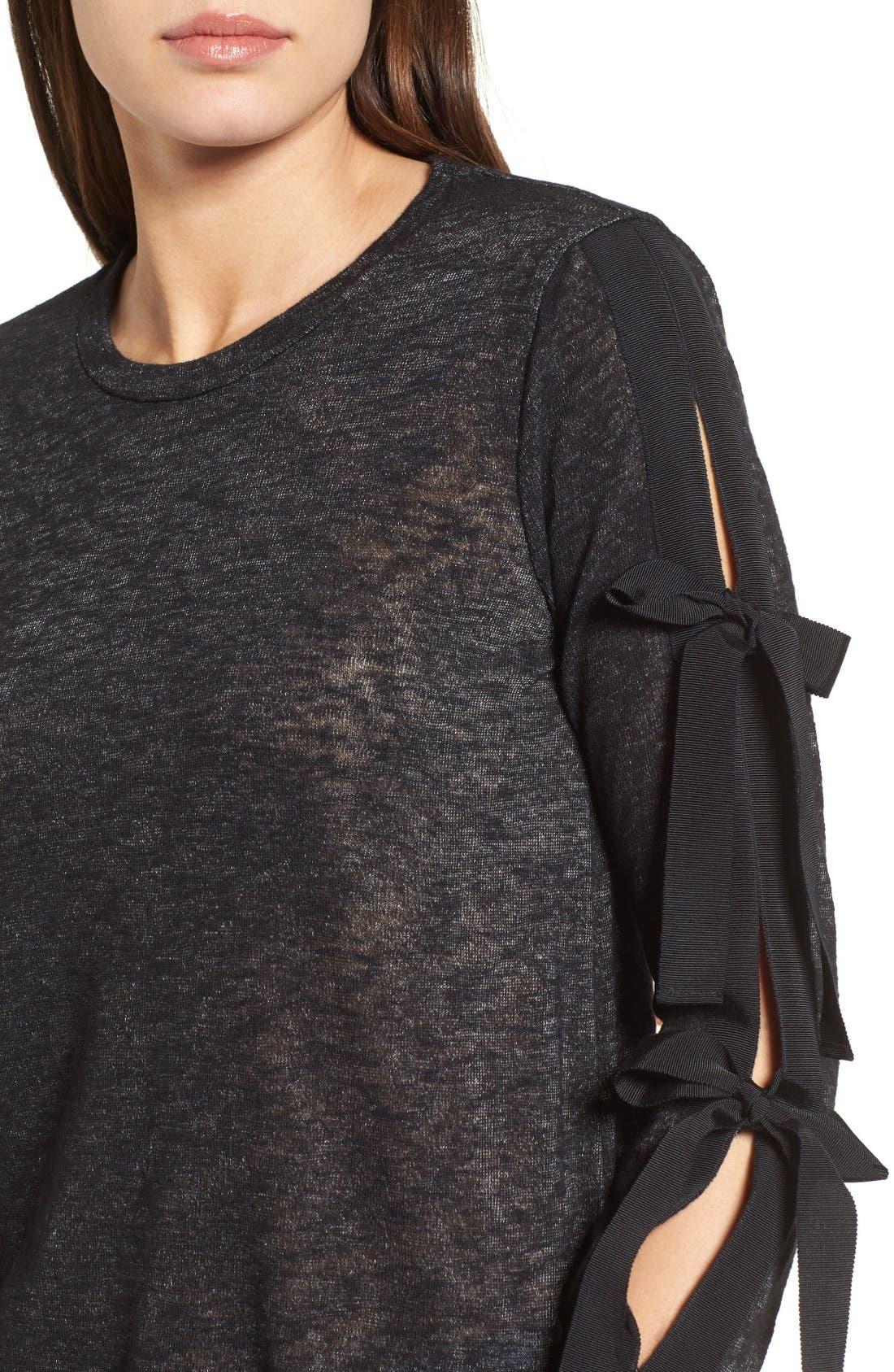Alternate Image 4  - Pleione Ribbon Tie Sleeve Knit Top (Regular & Petite)