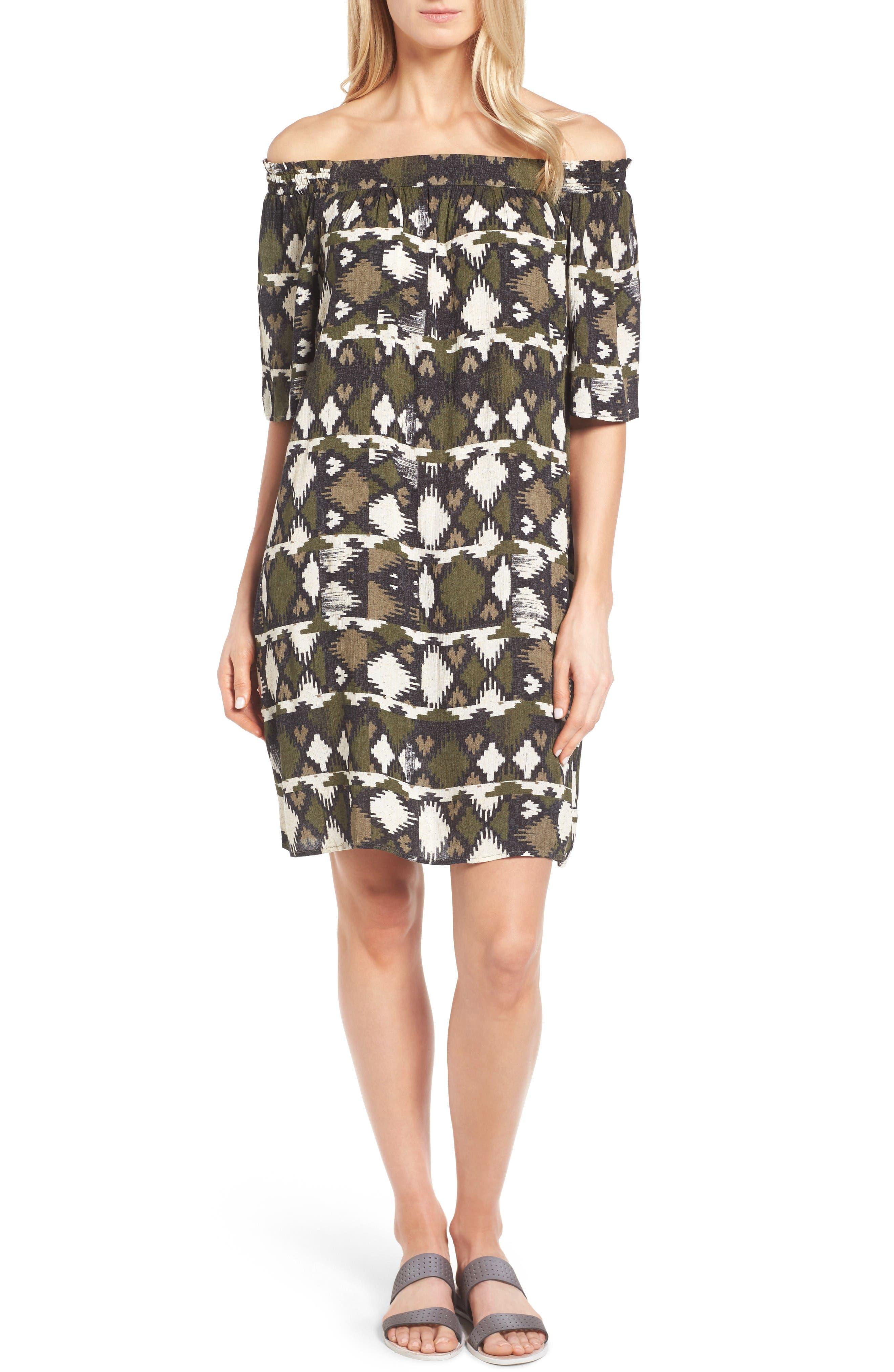 Caslon® Off the Shoulder Shift Dress (Regular & Petite)