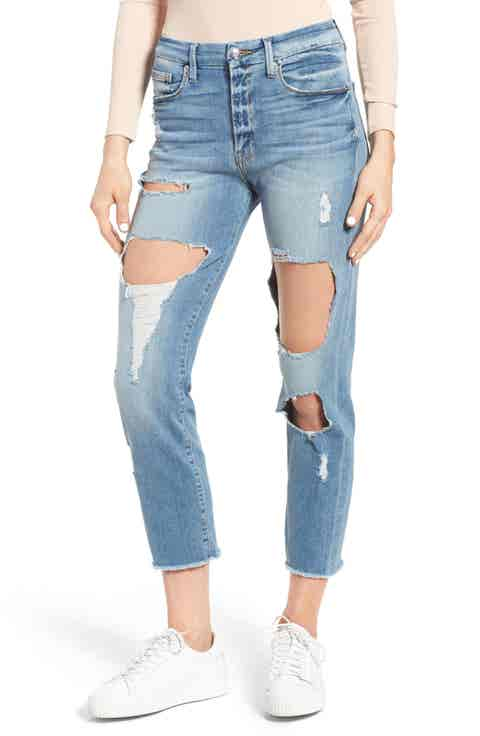 Good American Good Cuts High Rise Raw Edge Boyfriend Jeans