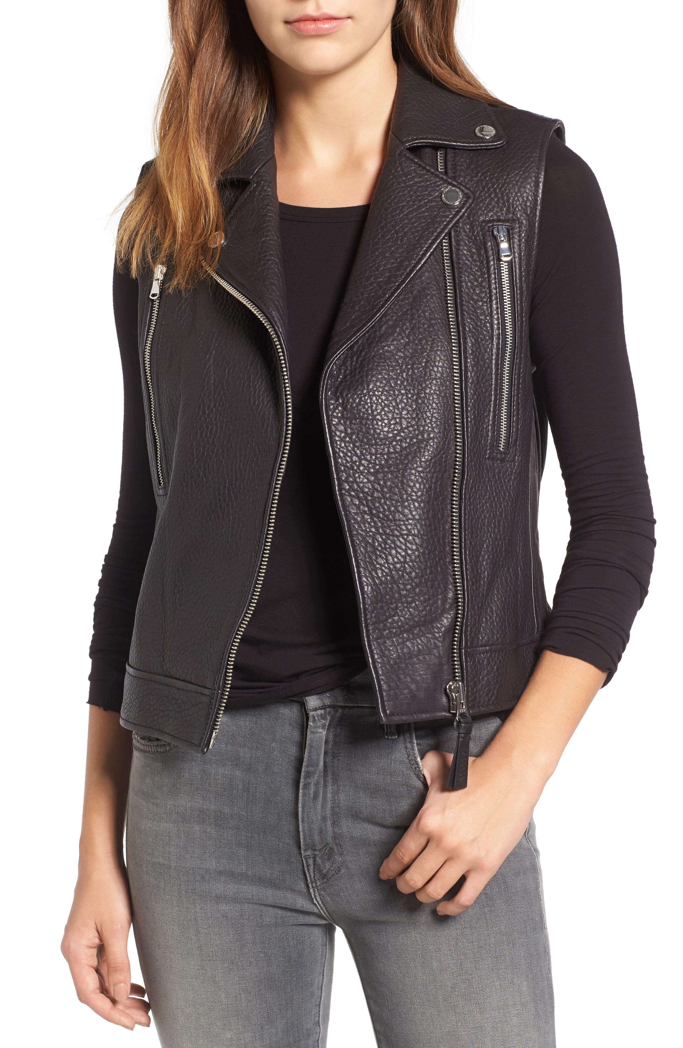 Derek Lam 10 Crosby Leather Moto Vest