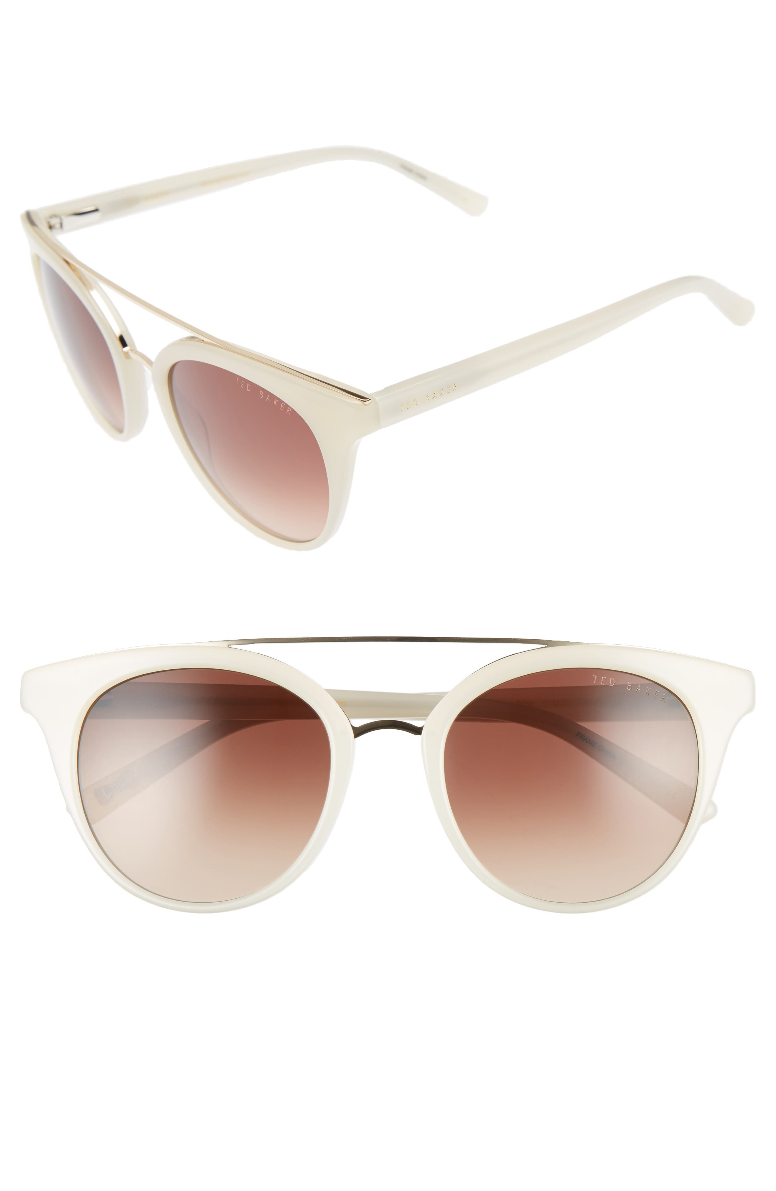 Ted Baker London 51mm Gradient Lens Round Retro Sunglasses