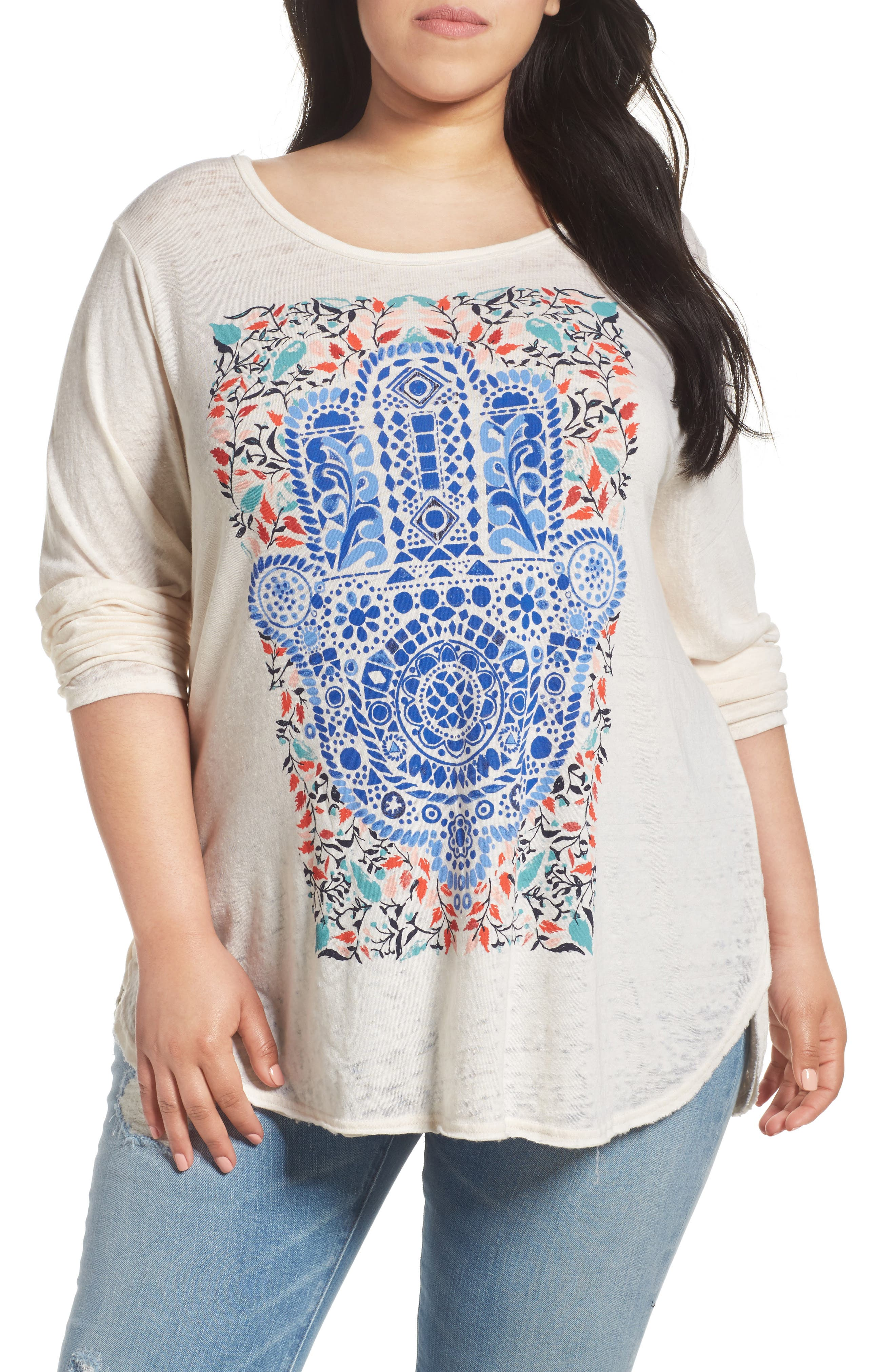Alternate Image 1 Selected - Lucky Brand Watercolor Hamsa Hand Tee (Plus Size)