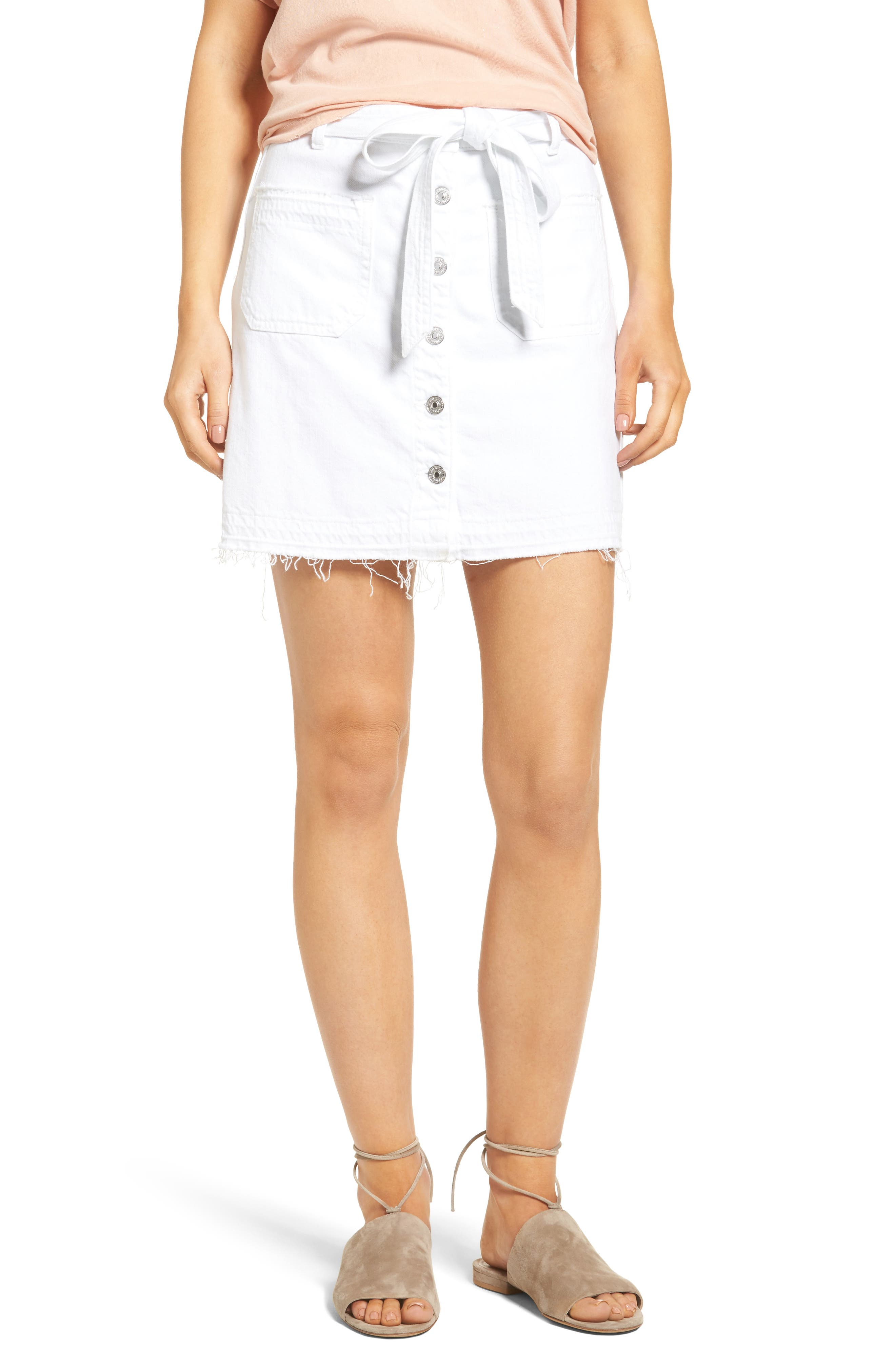 7 For All Mankind® Released Hem Denim A-Line Skirt (Luxe Lounge White)