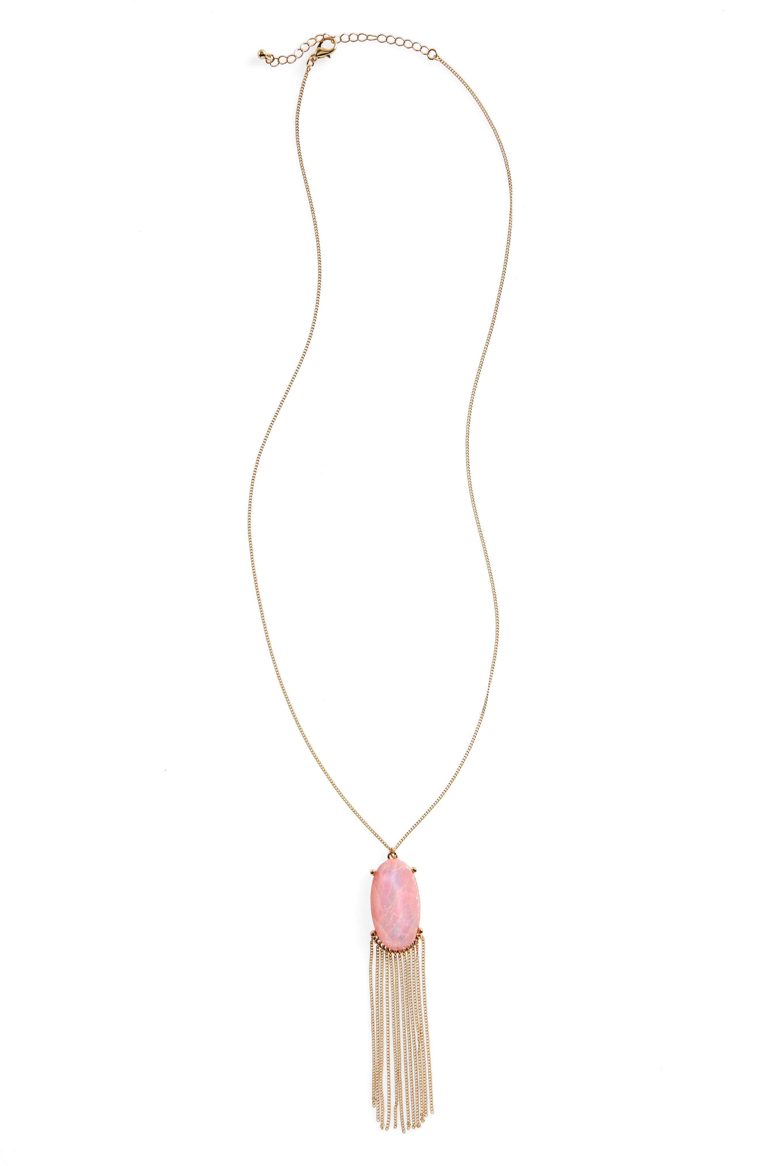 Alternate Image 1 Selected - BP. Stone & Tassel Pendant Necklace