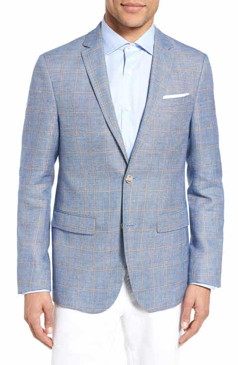 Sand Trim Fit Windowpane Wool   Linen Sport Coat