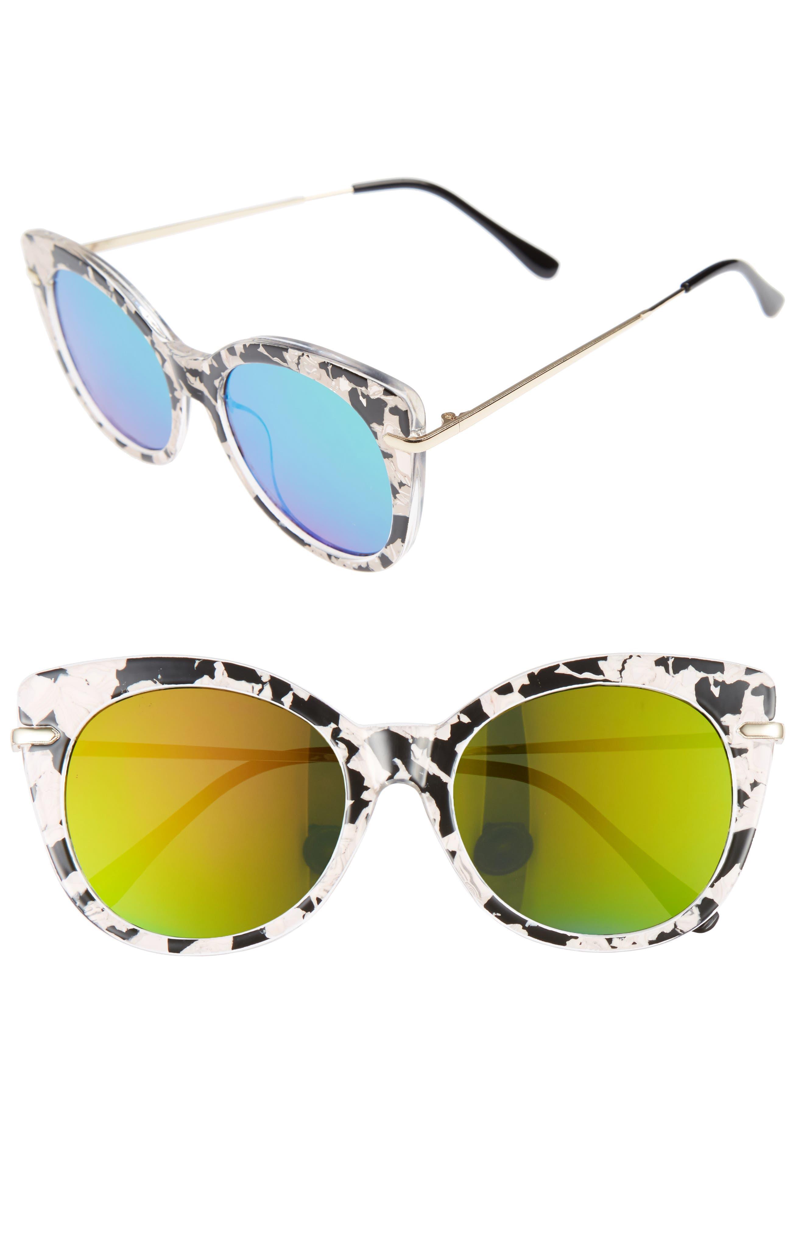 BP. Kitty 52mm Mirrored Cat Eye Sunglasses
