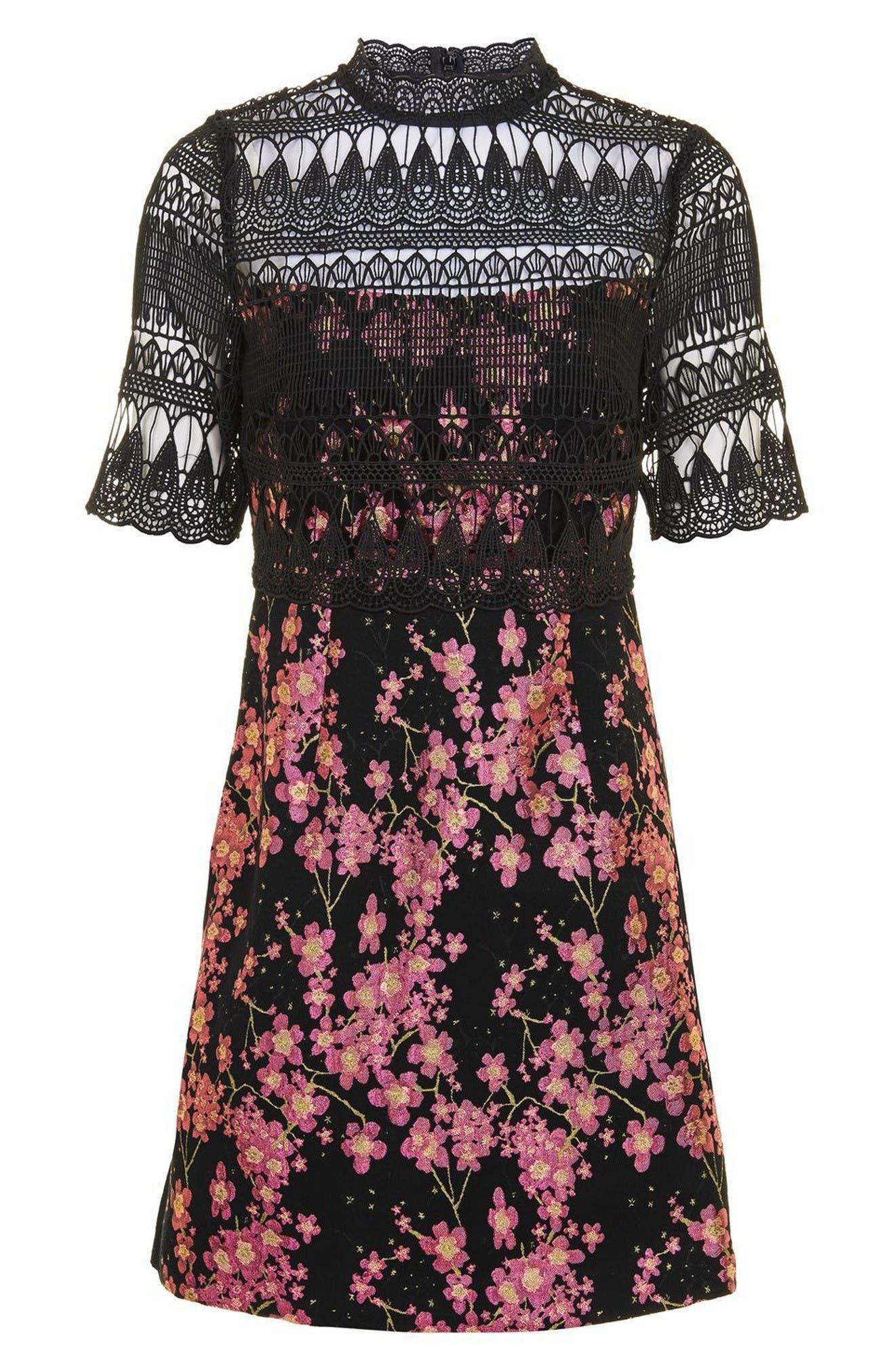 Alternate Image 4  - Topshop Lace & Jacquard Dress