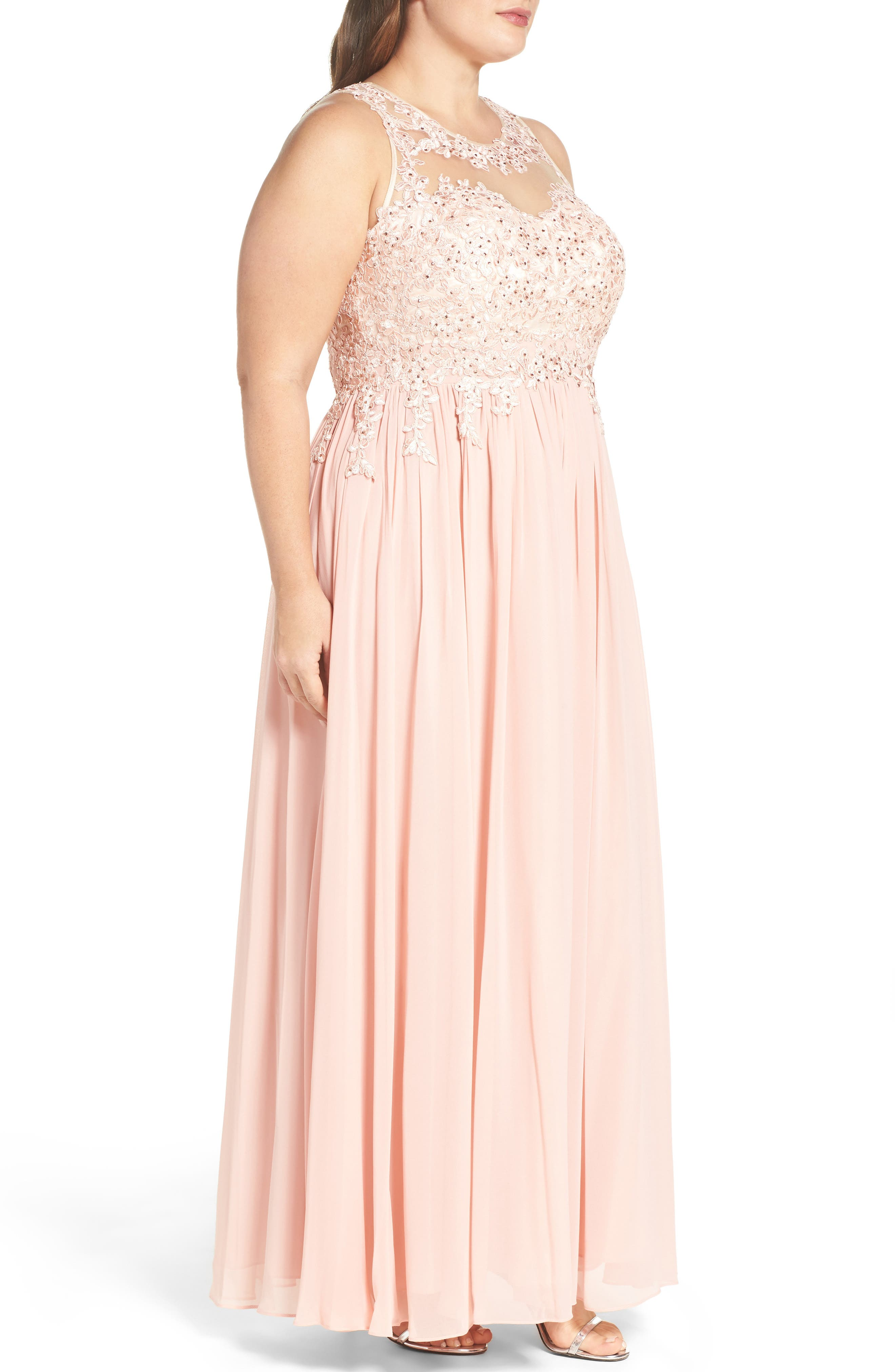Alternate Image 3  - DECODE 1.8 Embellished A-Line Chiffon Gown (Plus Size)