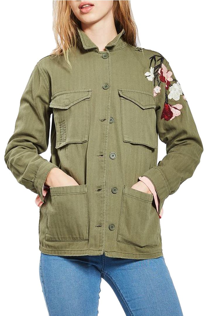 Topshop embroidered army shirt jacket nordstrom