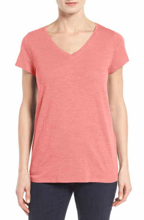 Eileen Fisher Organic Cotton V-Neck Tee (Regular   Petite) (Nordstrom Exclusive)