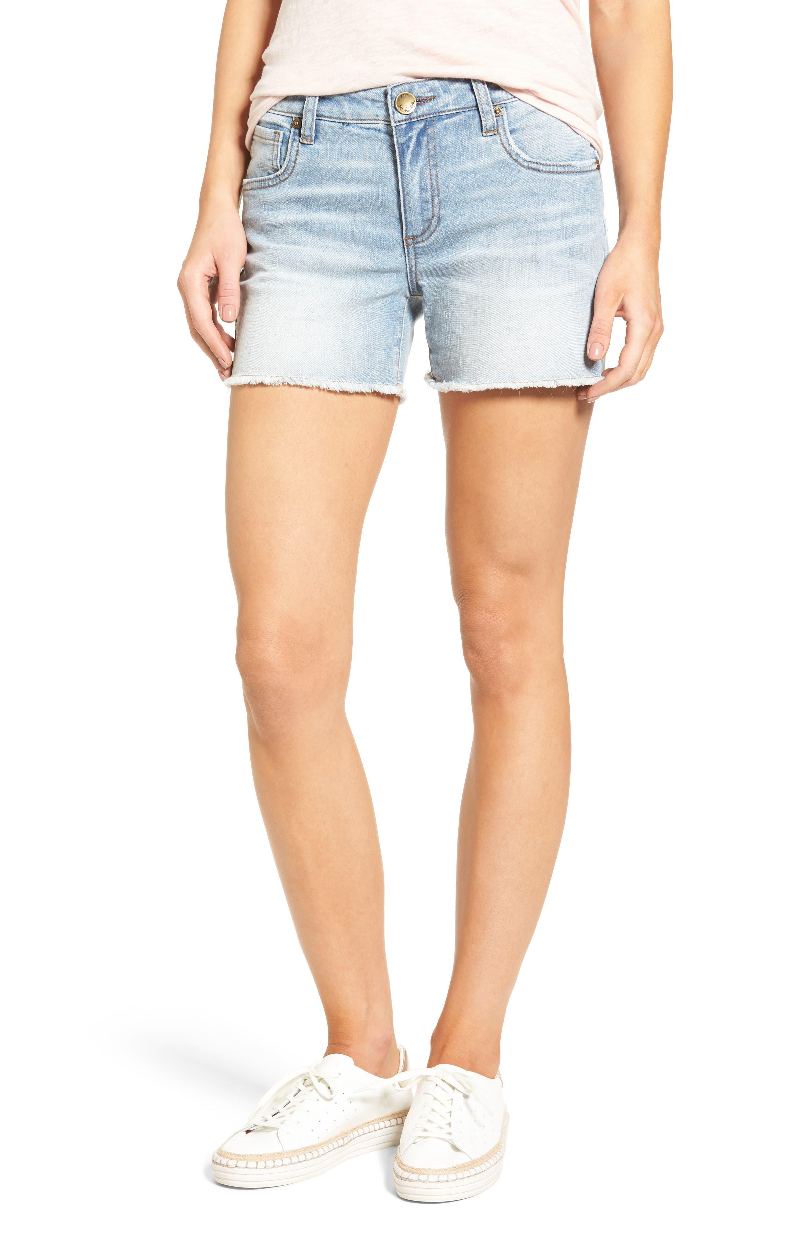 KUT from the Kloth Gidget Frayed Denim Shorts (Acknowledge)
