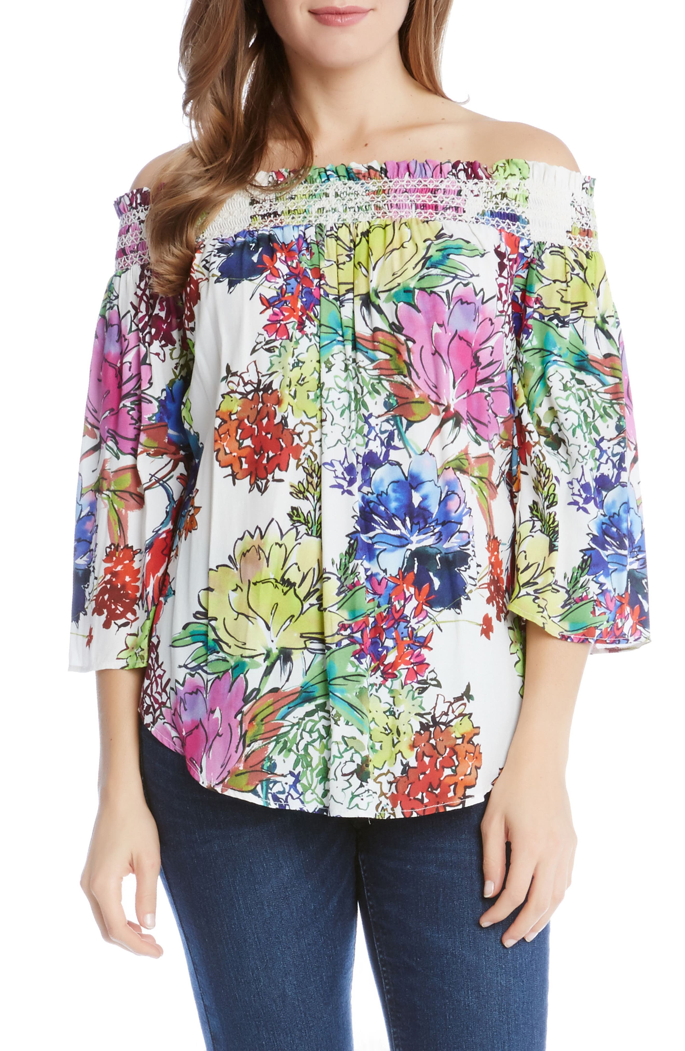 Karen Kane Off the Shoulder Floral Top