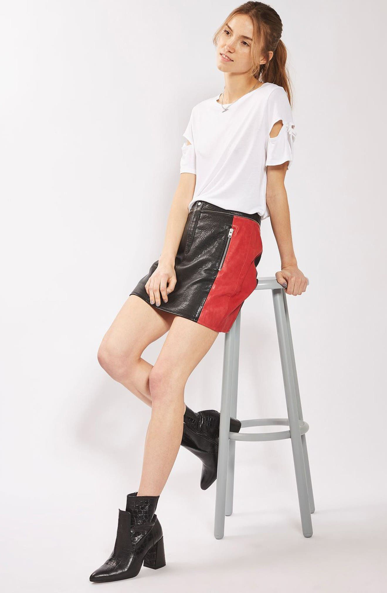 Alternate Image 2  - Topshop Colorblock Leather Skirt