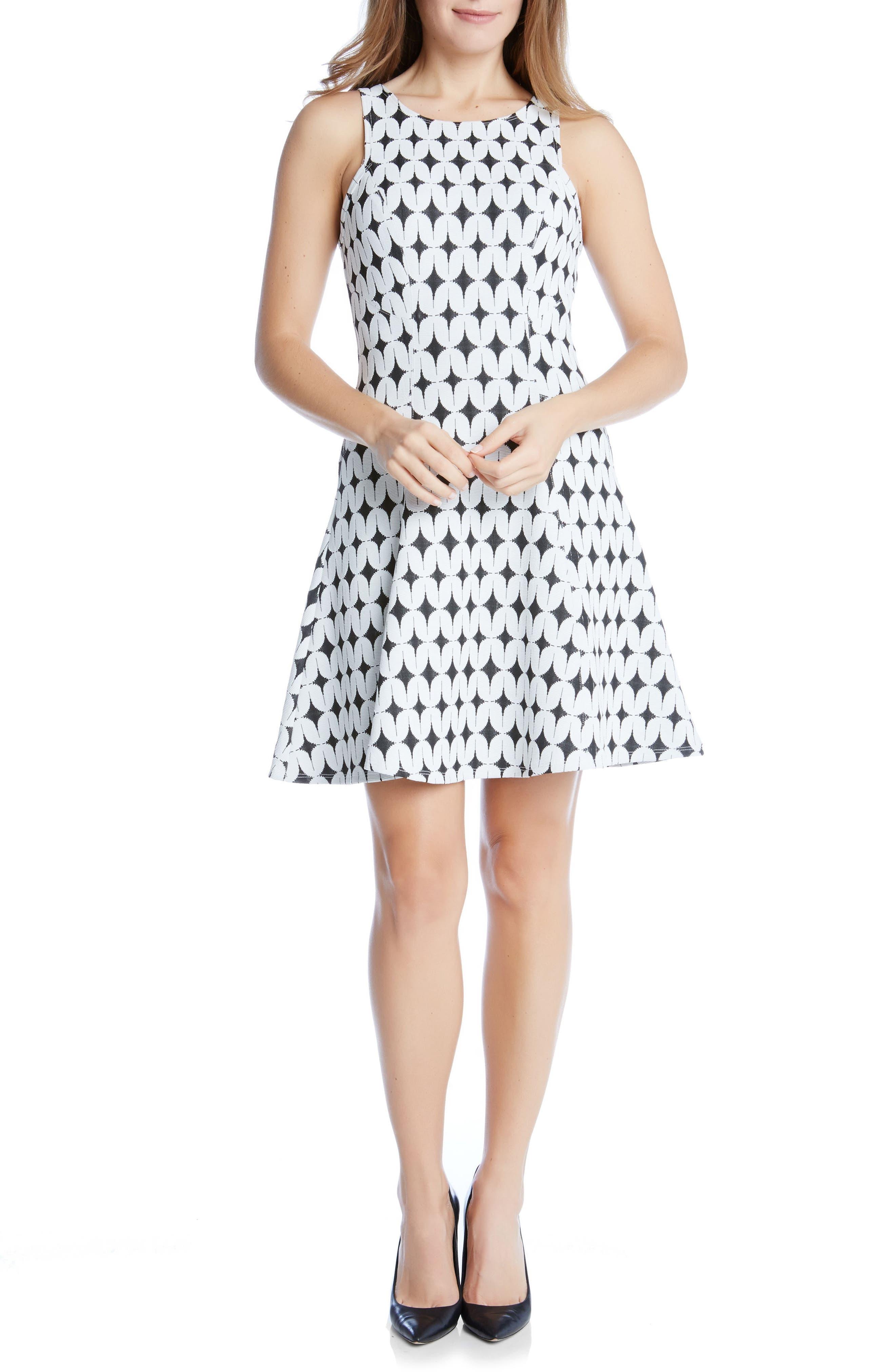 Main Image - Karen Kane Jacquard Fit & Flare Dress