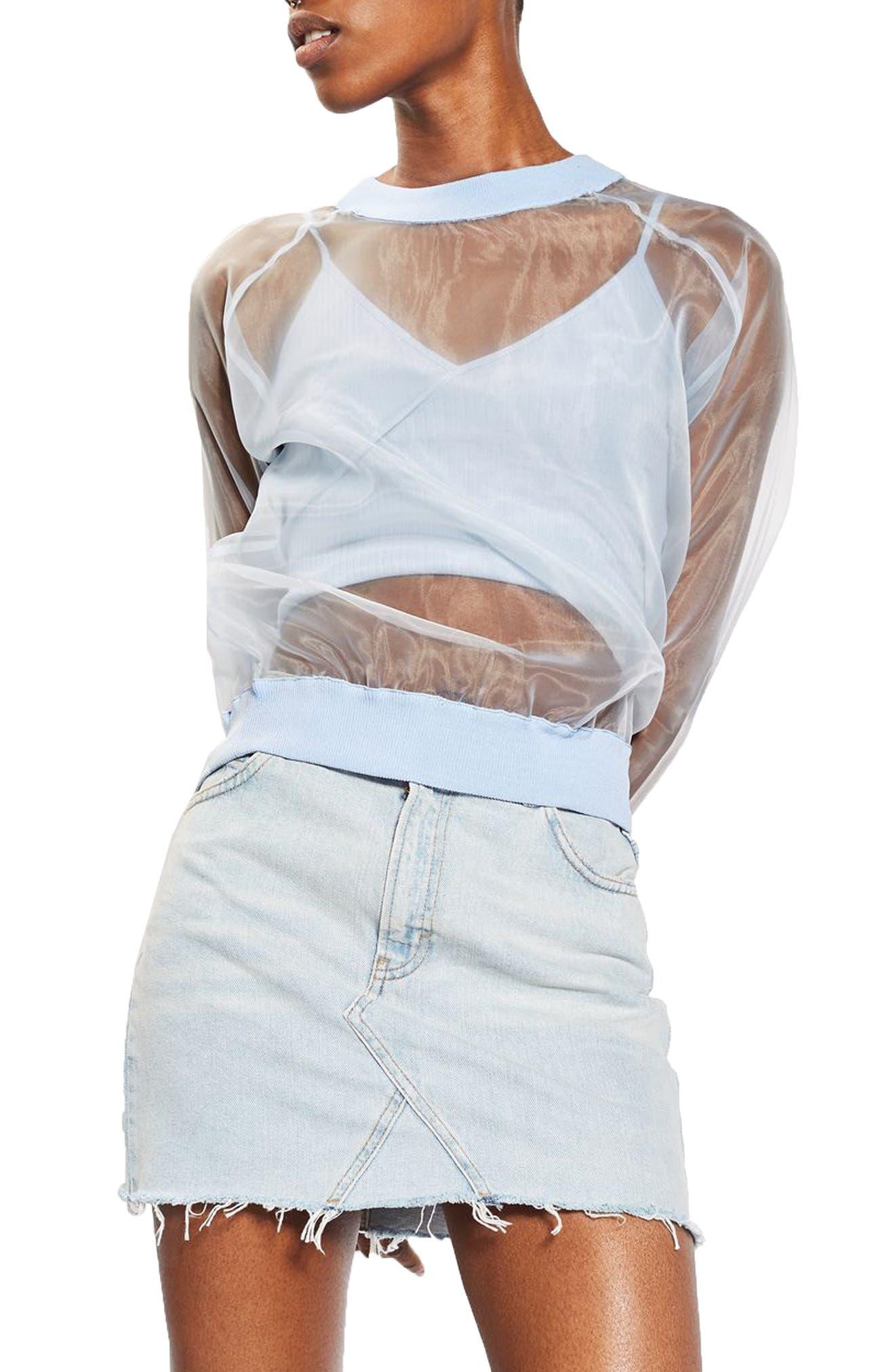 Alternate Image 1 Selected - Topshop Sheer Sweatshirt