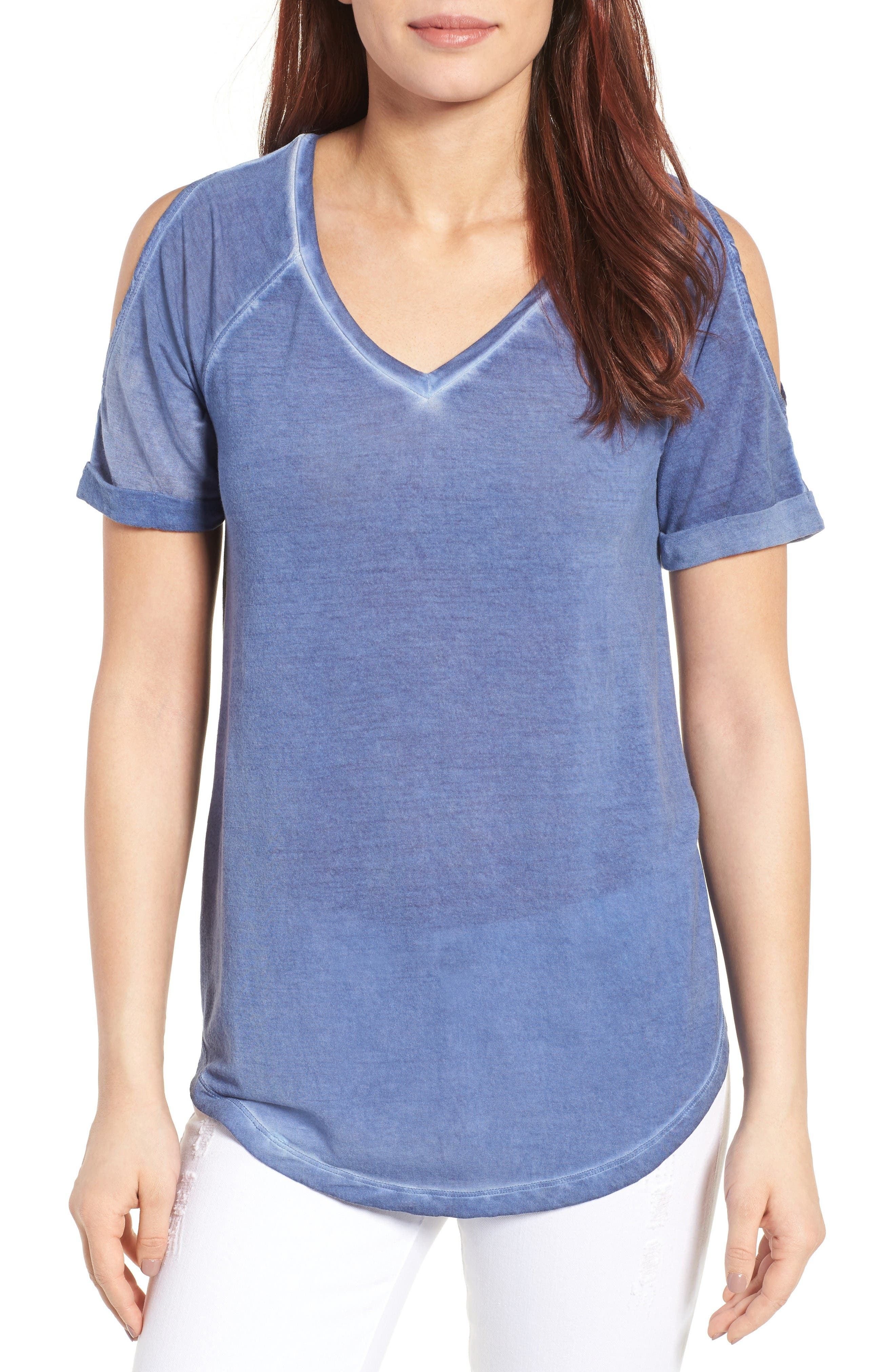 Caslon® Cold Shoulder V-Neck Tee (Regular & Petite)
