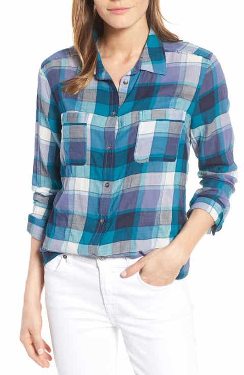 Caslon® Long Sleeve Crinkle Cotton Shirt (Regular   Petite)