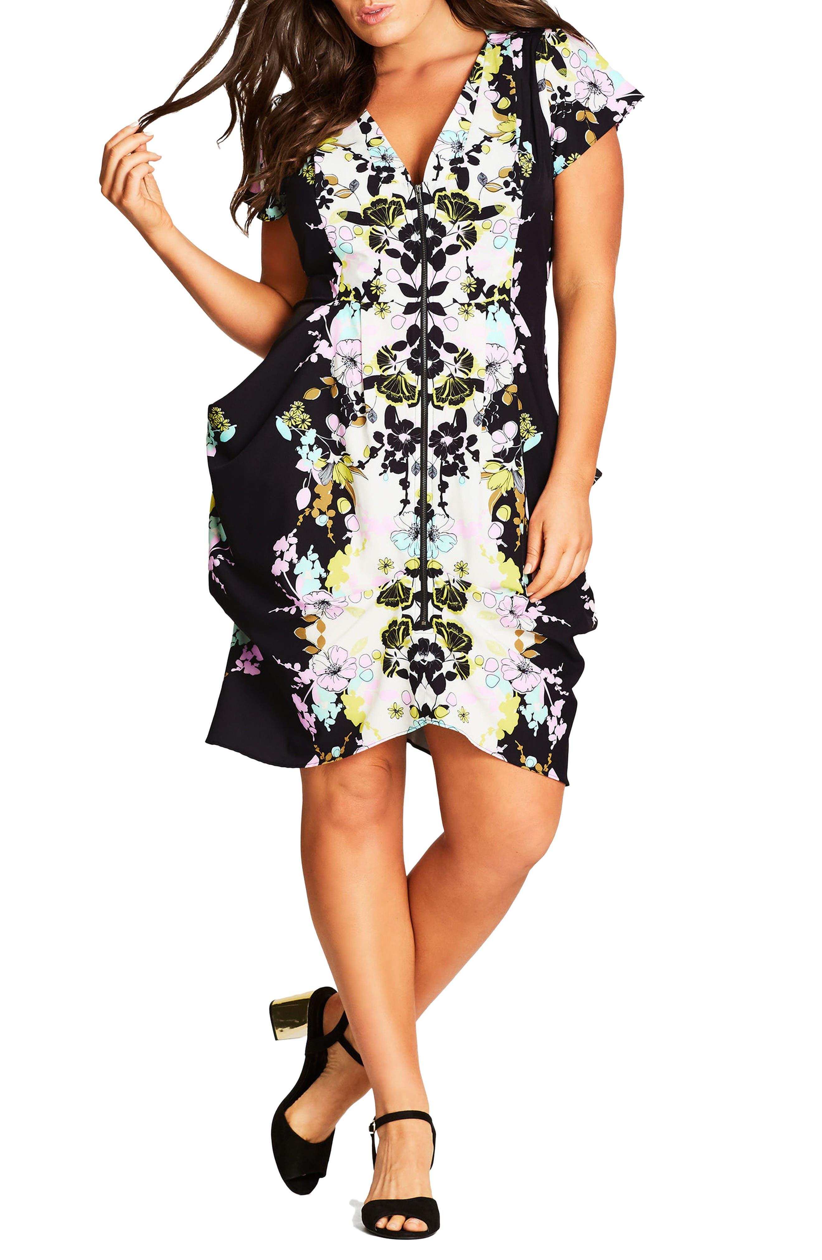 City Chic Zip Front Fit & Flare Dress (Plus Size)