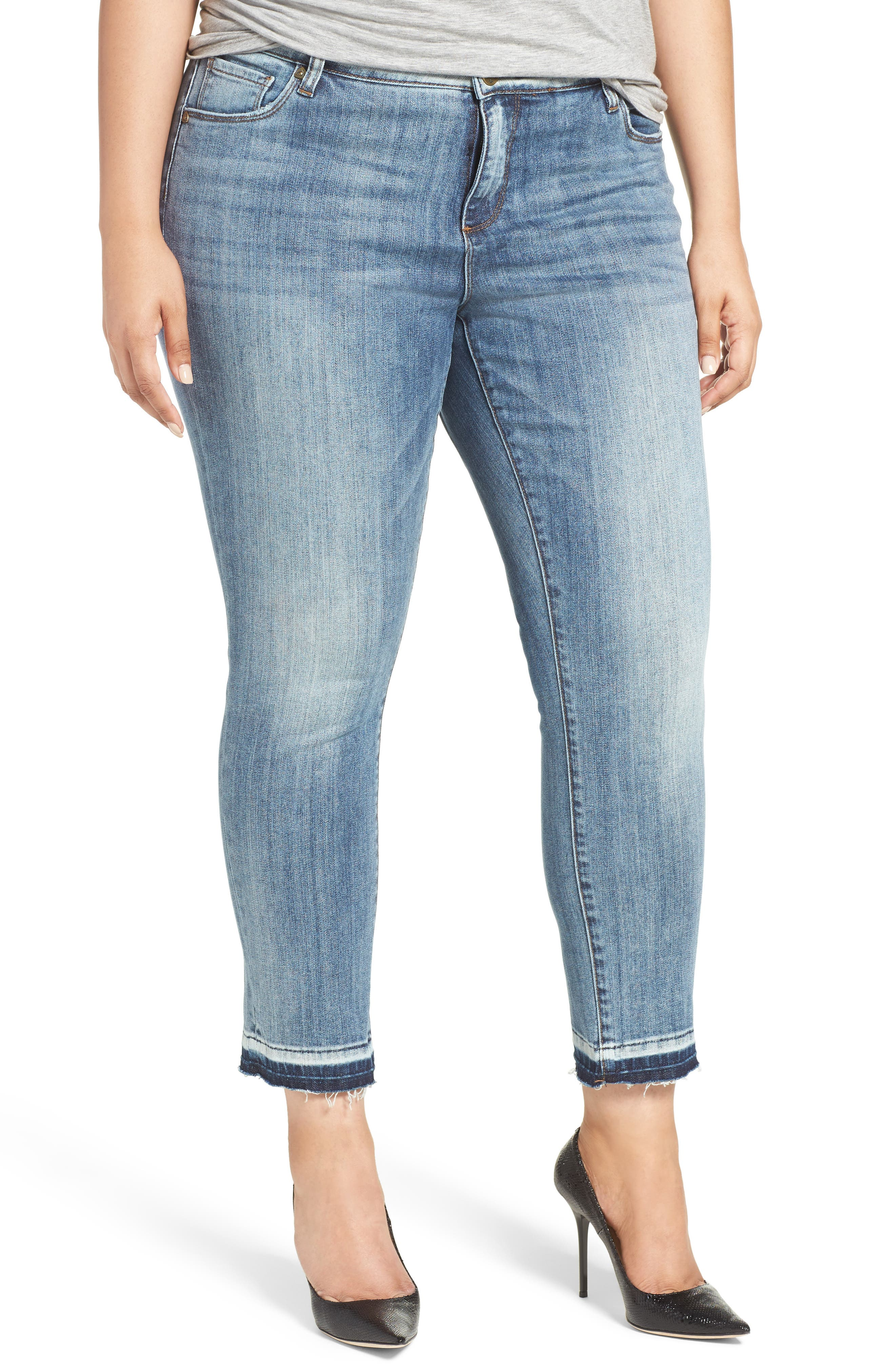 KUT from the Kloth Reese Release Hem Straight Leg Jeans (Motive) (Plus Size)