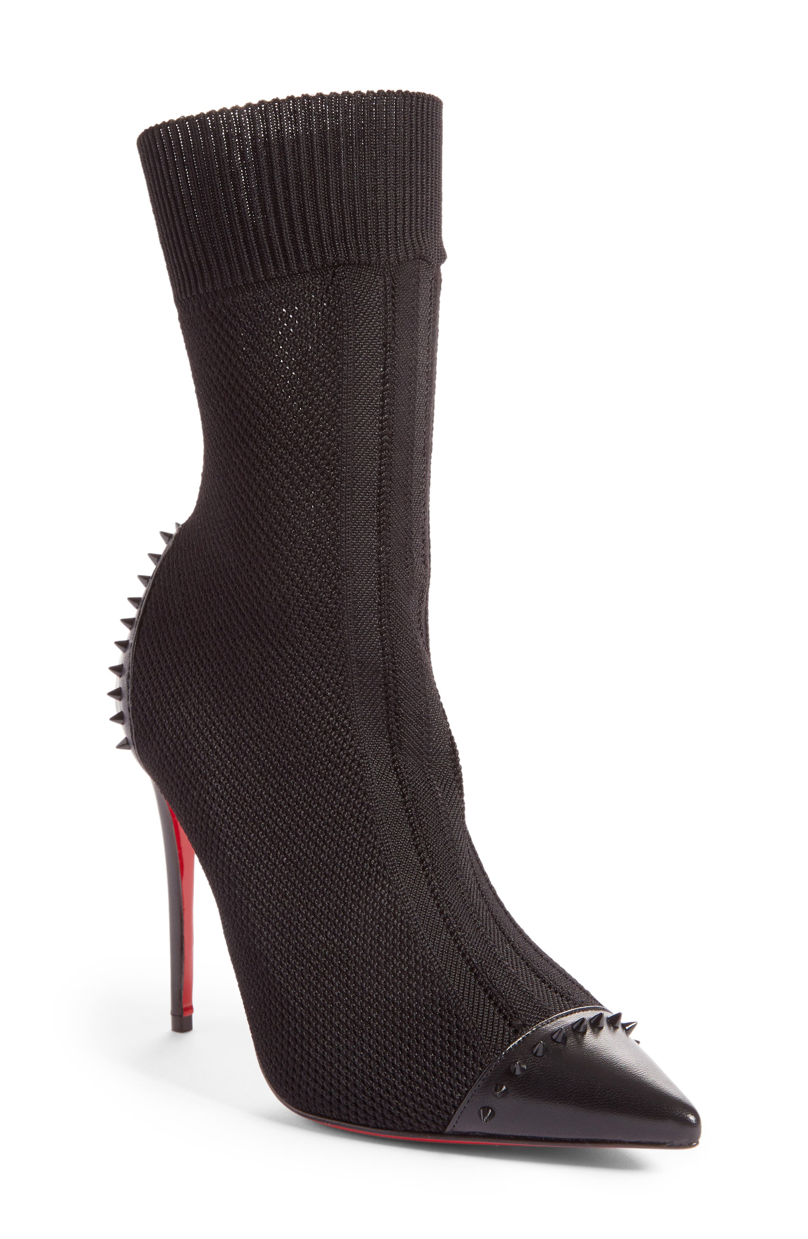 Christian Louboutin Dovi Dova Spiked Pointy Toe Bootie (Women)