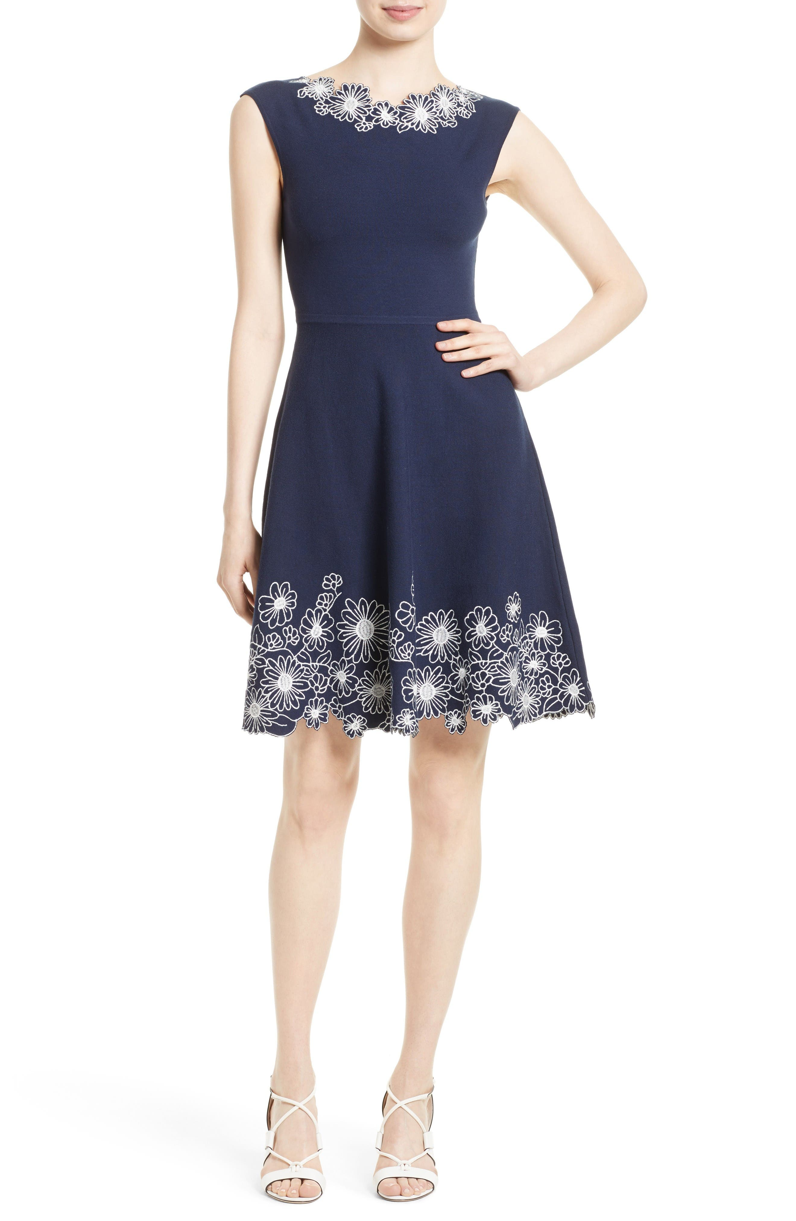 Milly Embroidered Knit Fit & Flare Dress