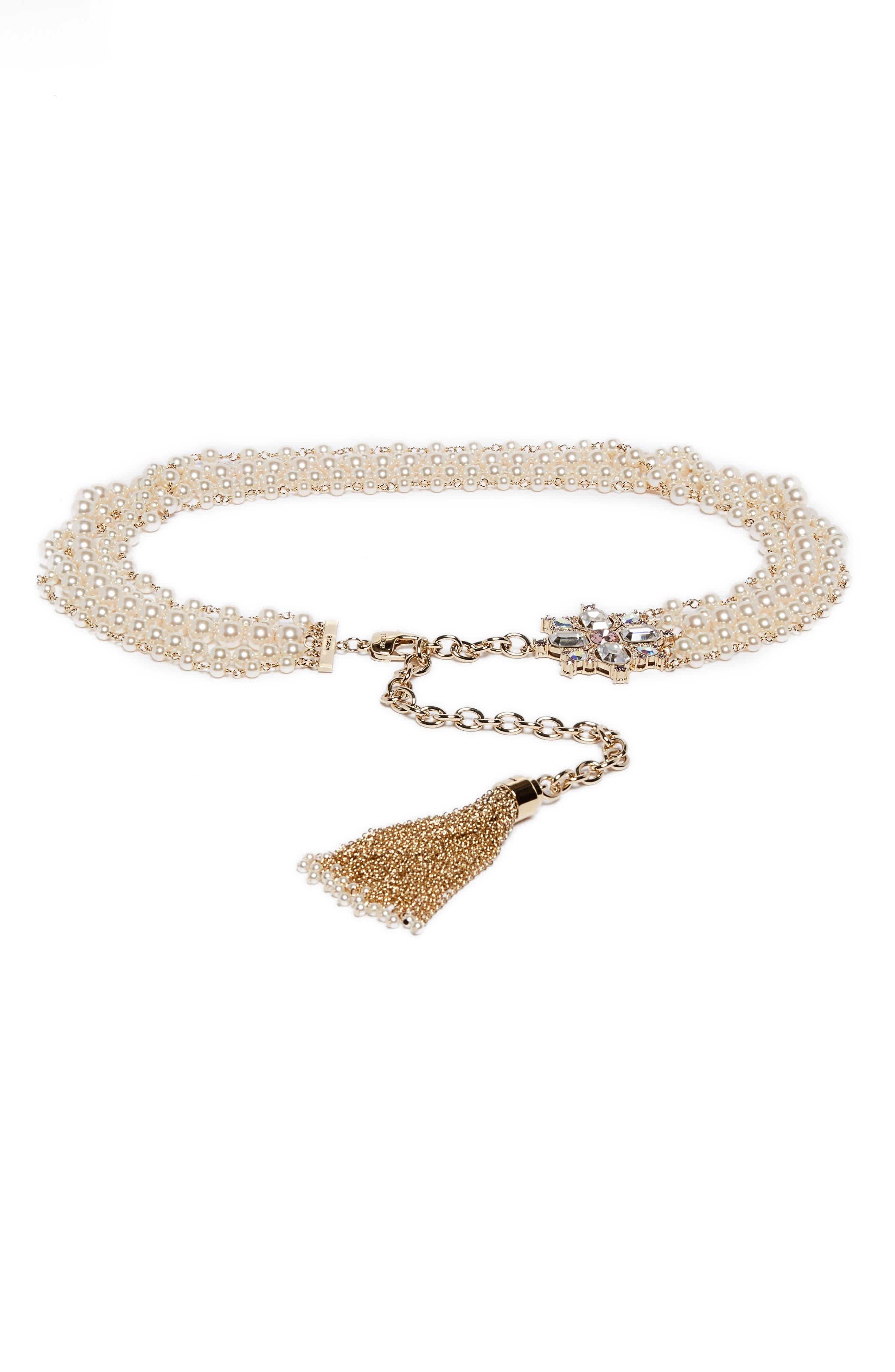 St. John Collection Swarovski Pearl & Crystal Tassel Belt