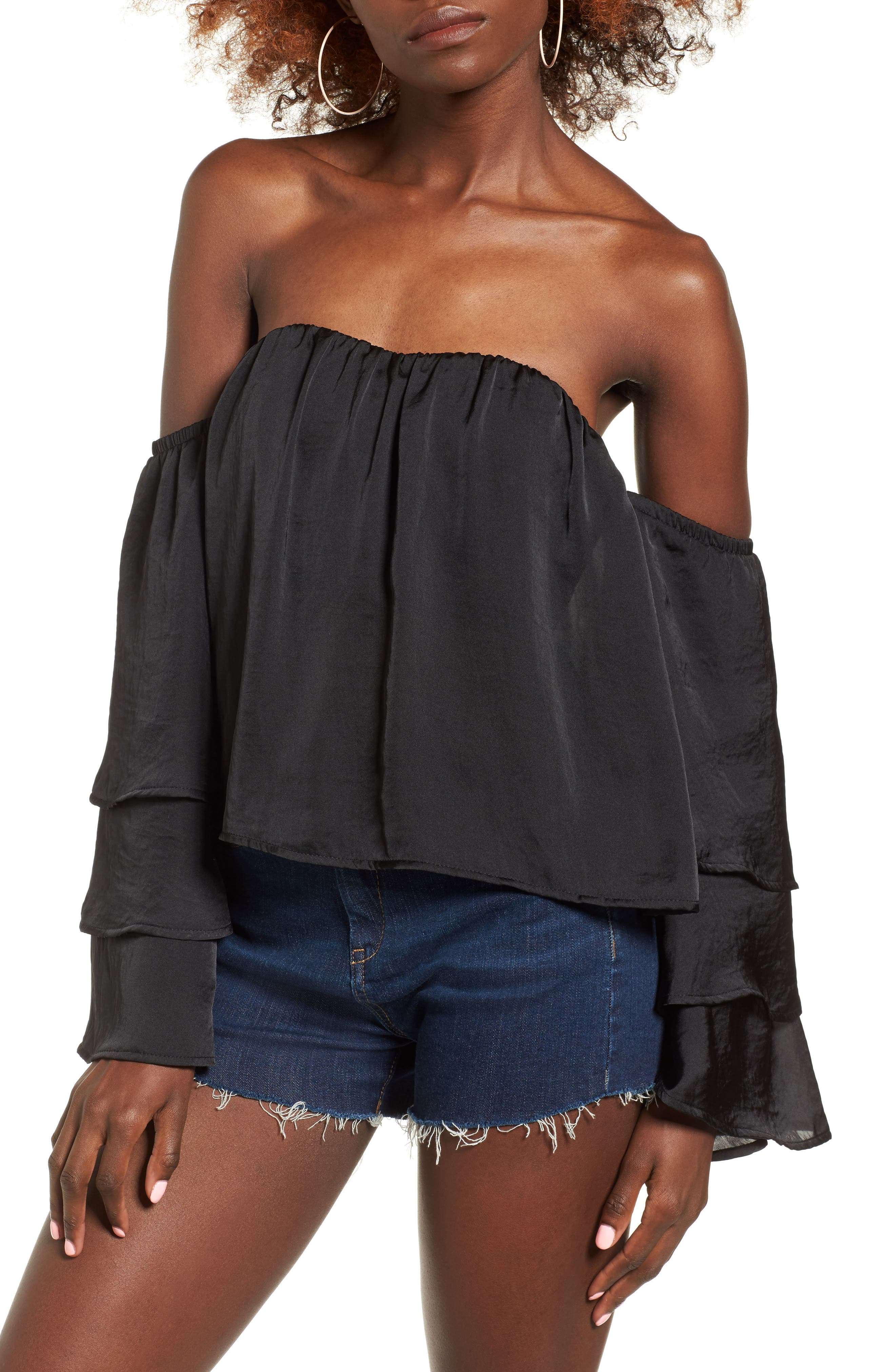 Alternate Image 1 Selected - 4SI3NNA Ruffle Off the Shoulder Top