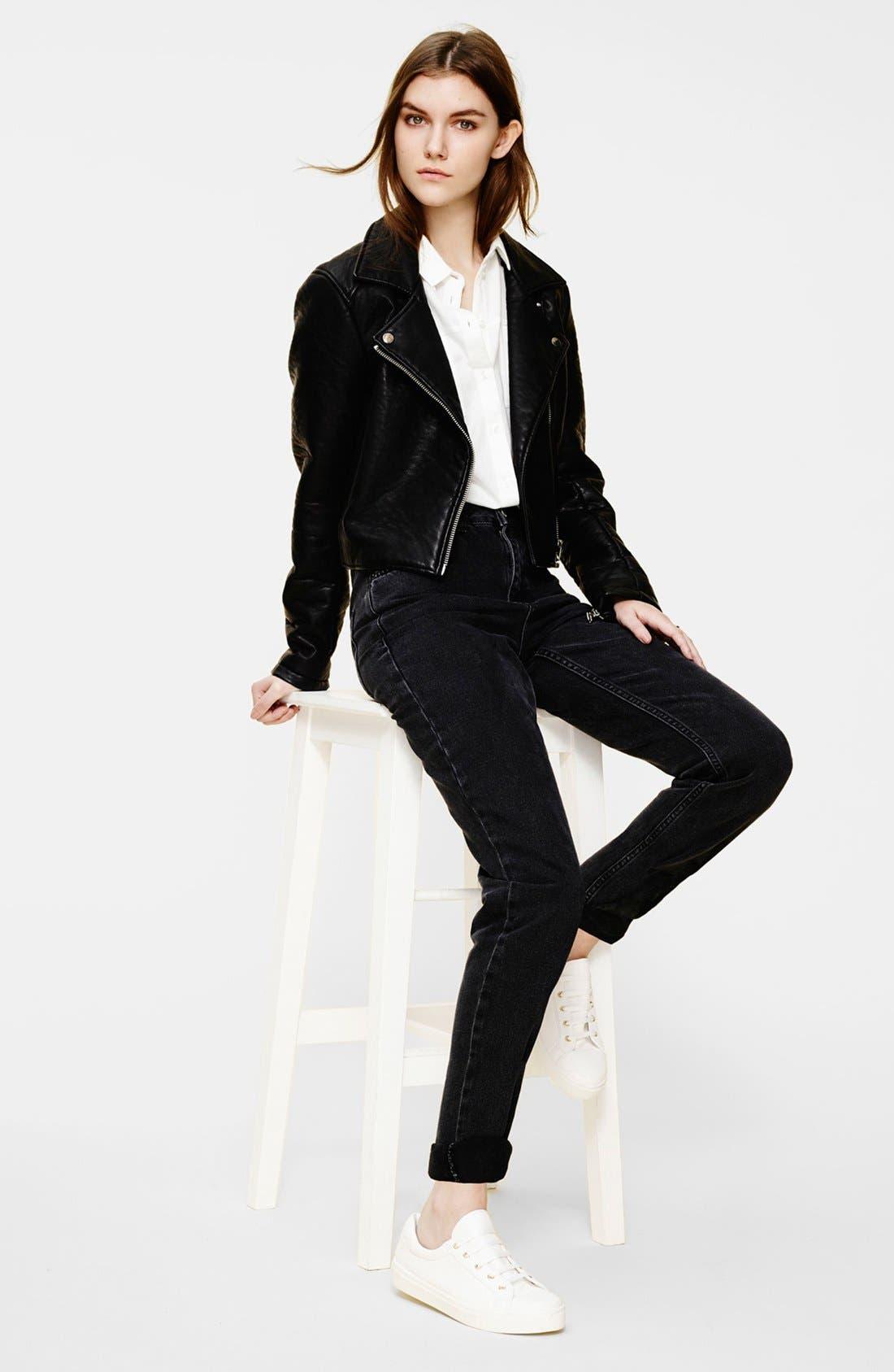 Alternate Image 6  - Topshop Moto 'Joni' High Rise Skinny Jeans (Black)
