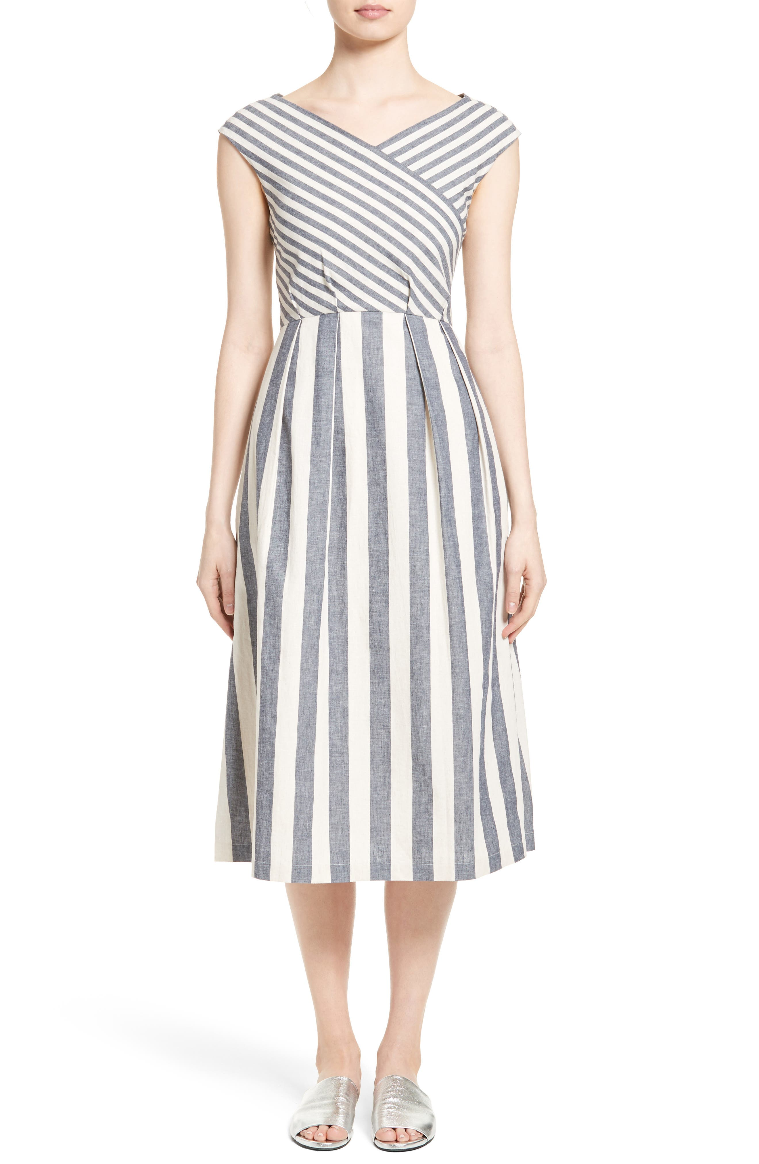 Lafayette 148 New York Ximena Stripe Cotton & Linen Dress