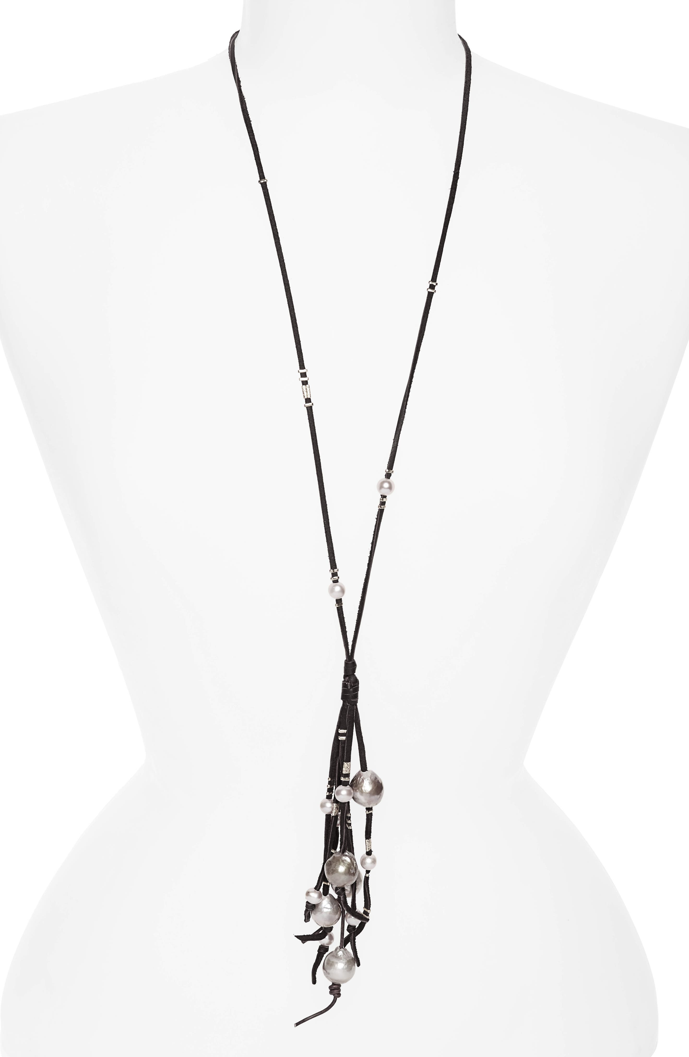 Chan Luu Pearl & Leather Tassel Necklace