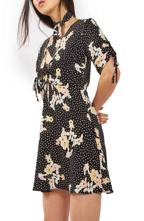 Topshop Floral Spot Tie Tea Dress (Regular   Petite)