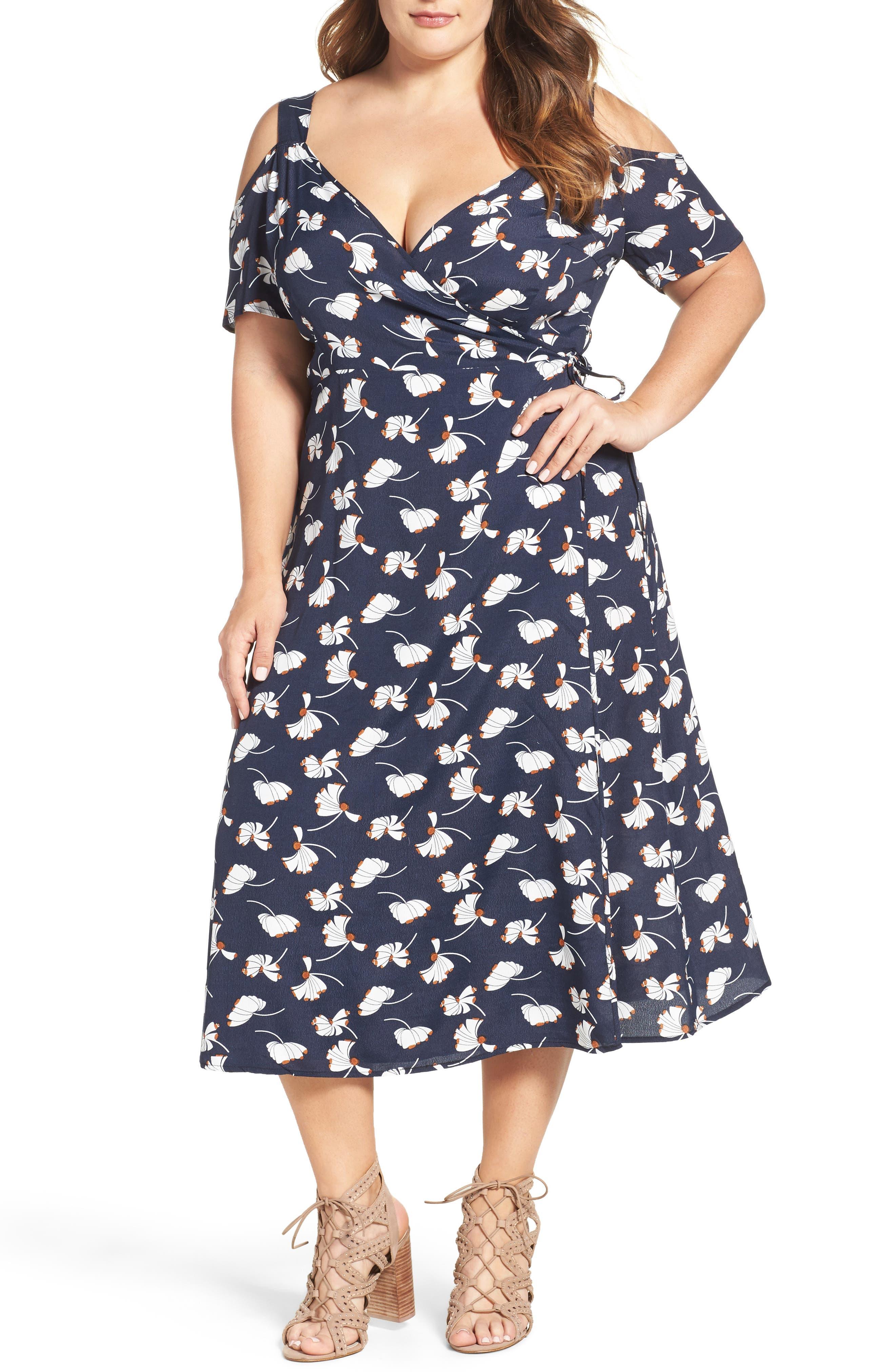 Alternate Image 1 Selected - Glamorous Cold Shoulder Wrap Dress (Plus Size)