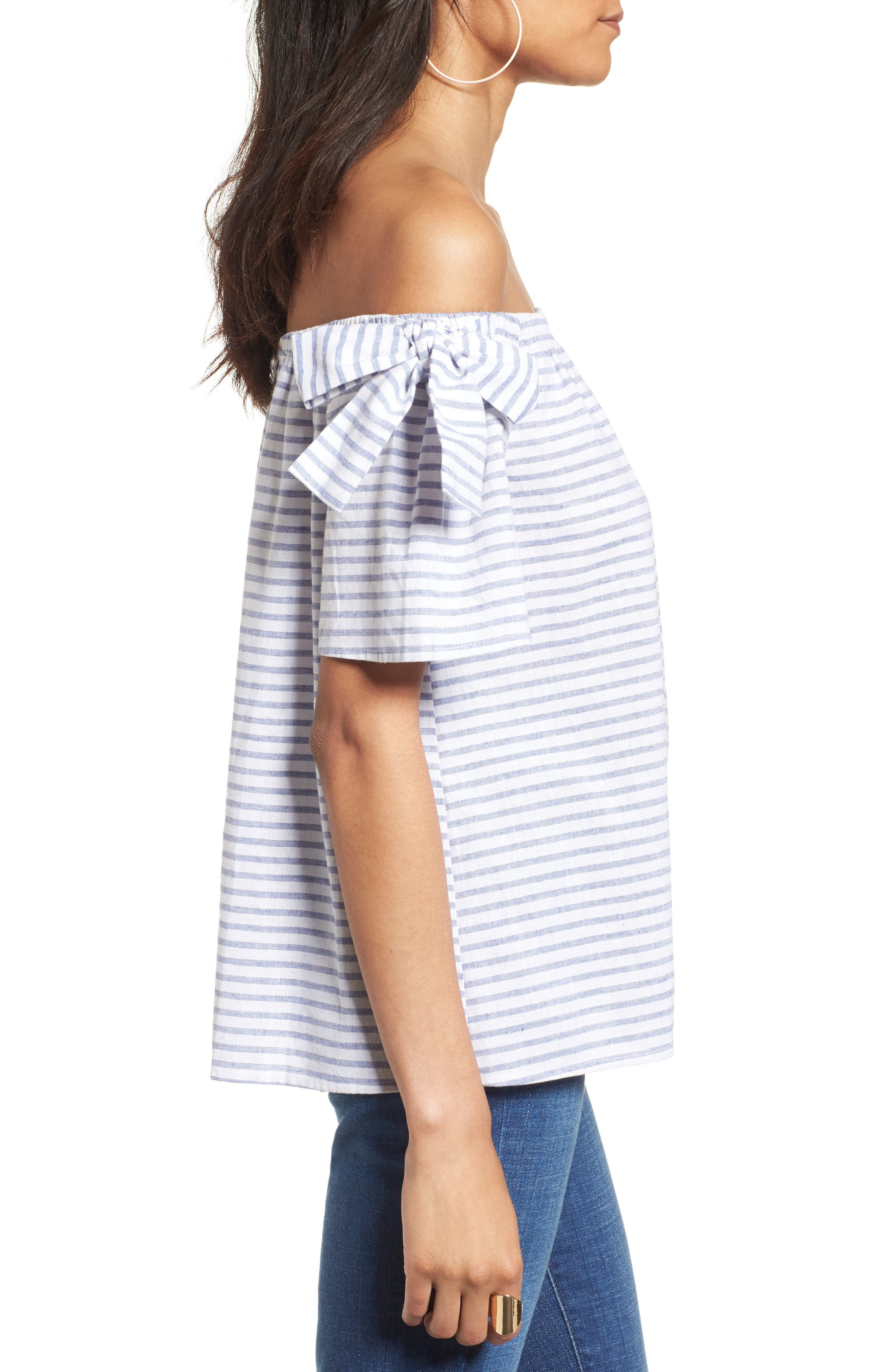 Alternate Image 3  - Soprano Stripe Cotton & Linen Off the Shoulder Top