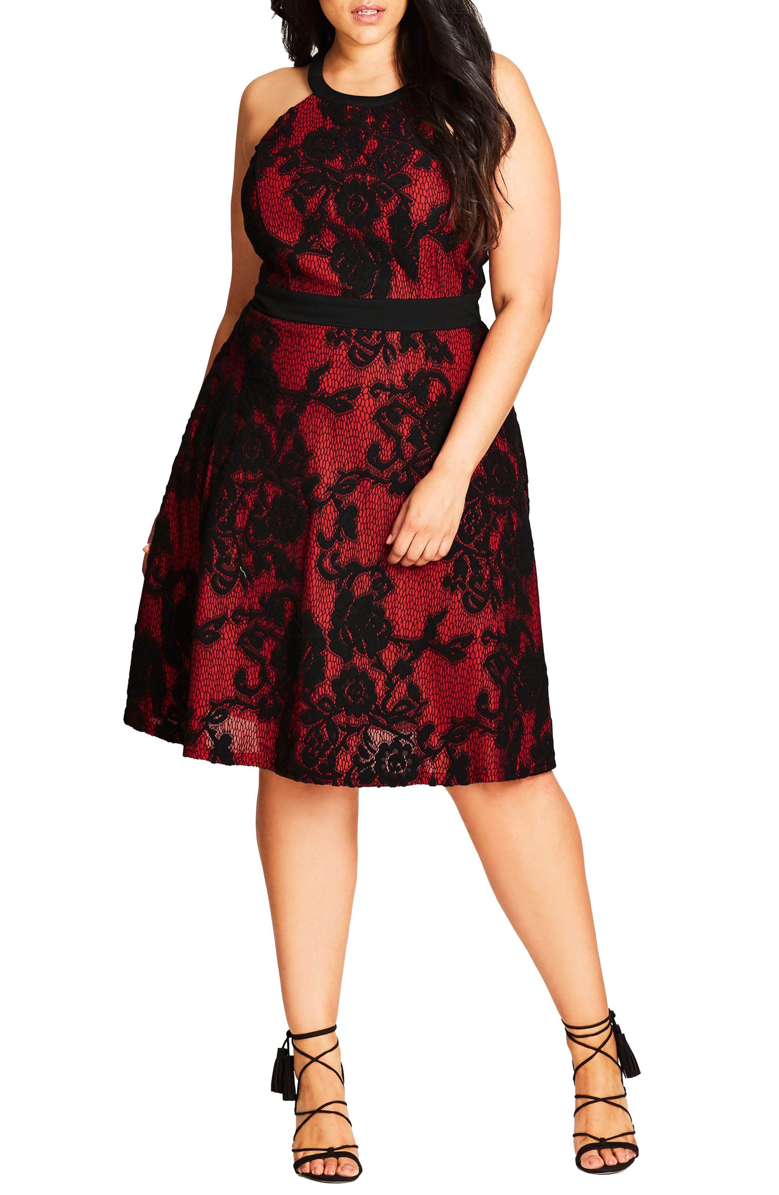 City Chic Lace Fit & Flare Dress (Plus Size)