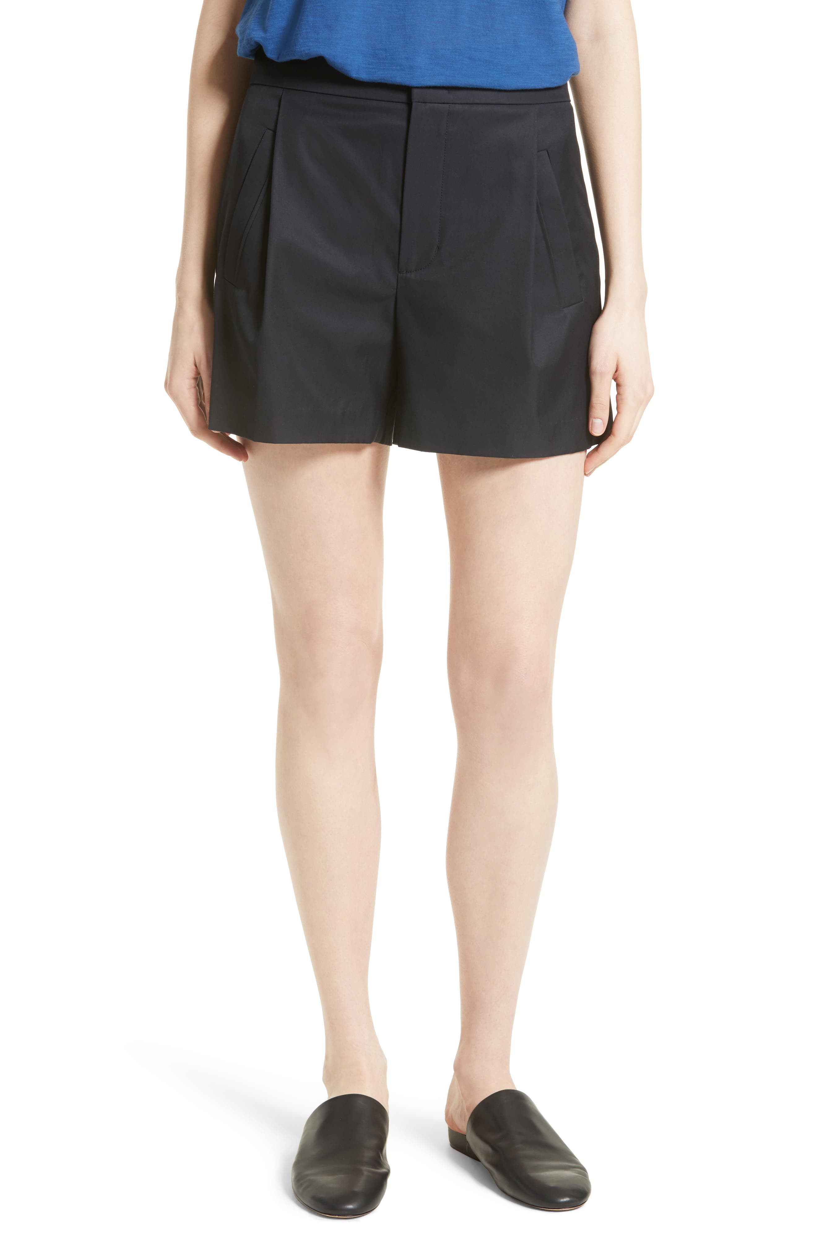 VINCE High Waist Cotton Shorts